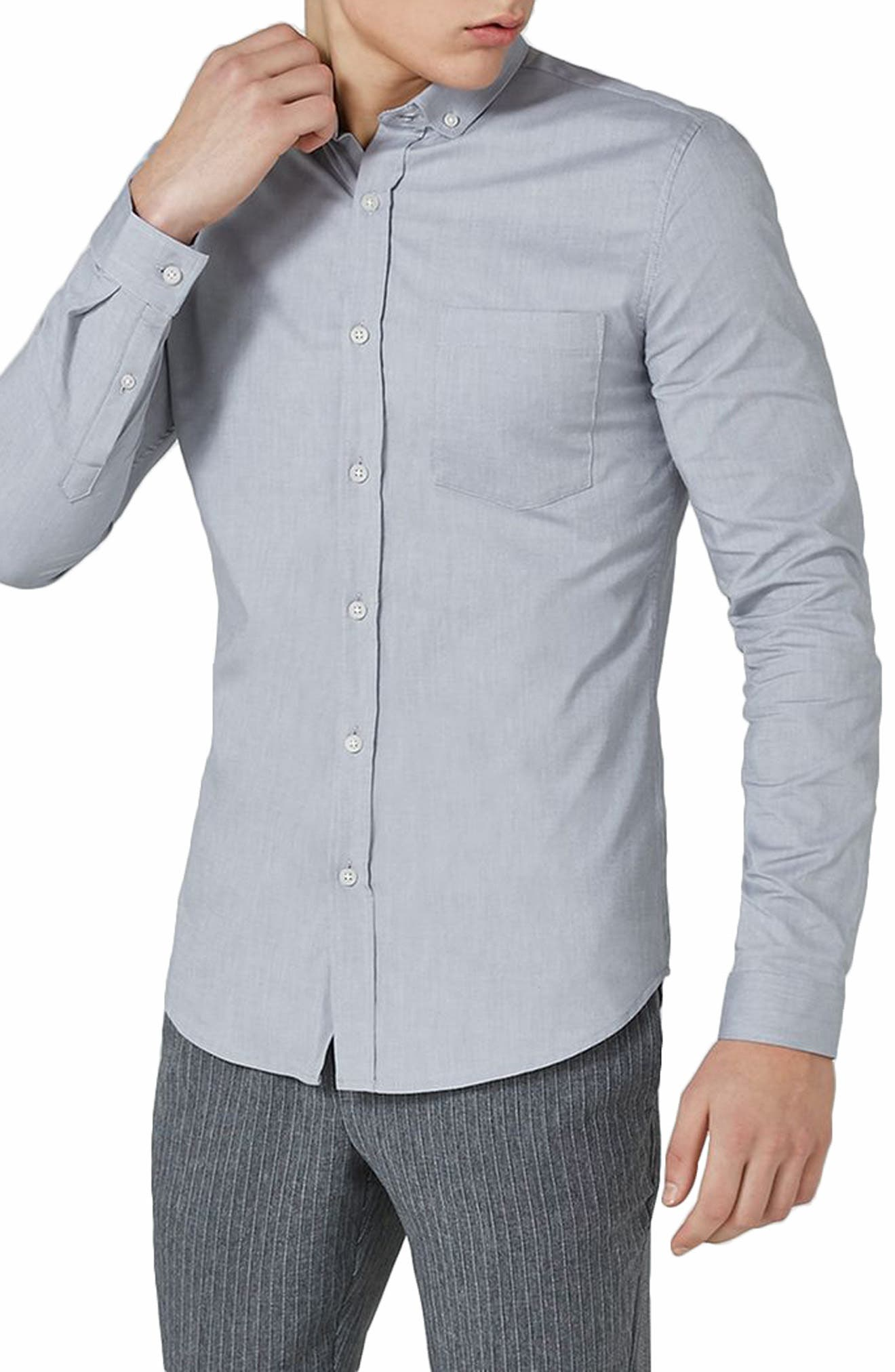 Muscle Fit Oxford Shirt,                         Main,                         color, GREY