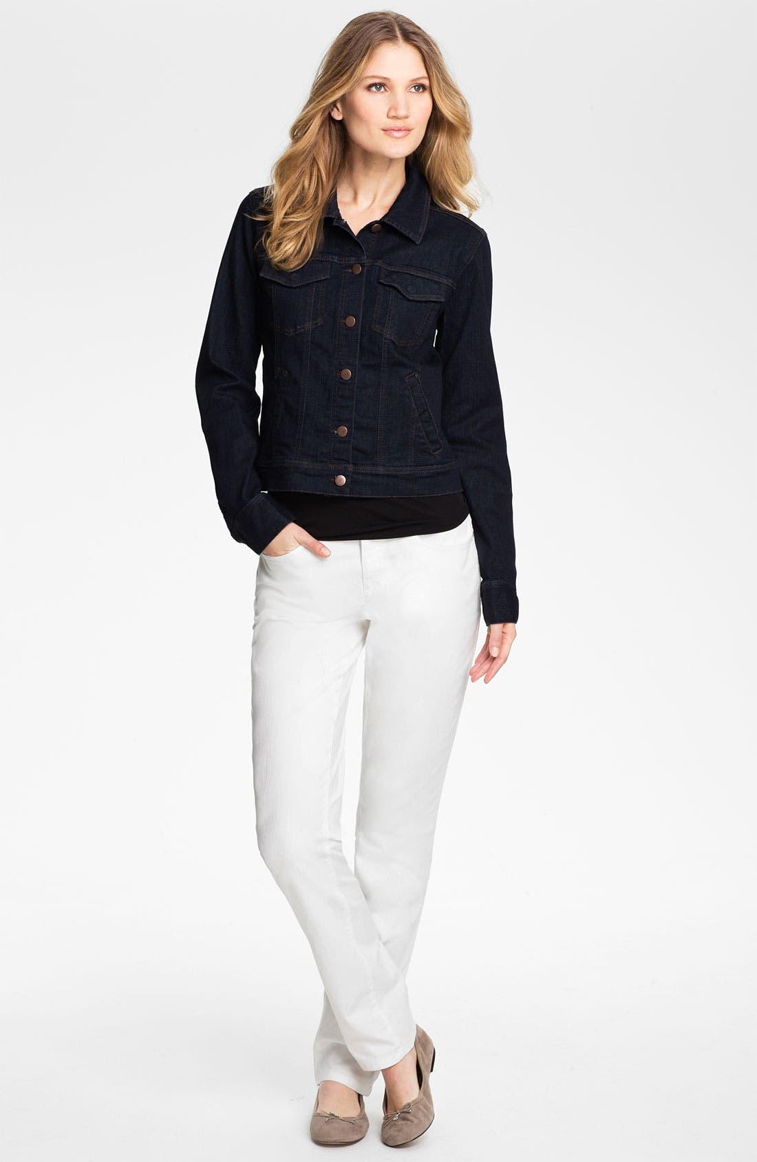 Organic Cotton Blend Denim Jacket,                             Alternate thumbnail 4, color,                             402