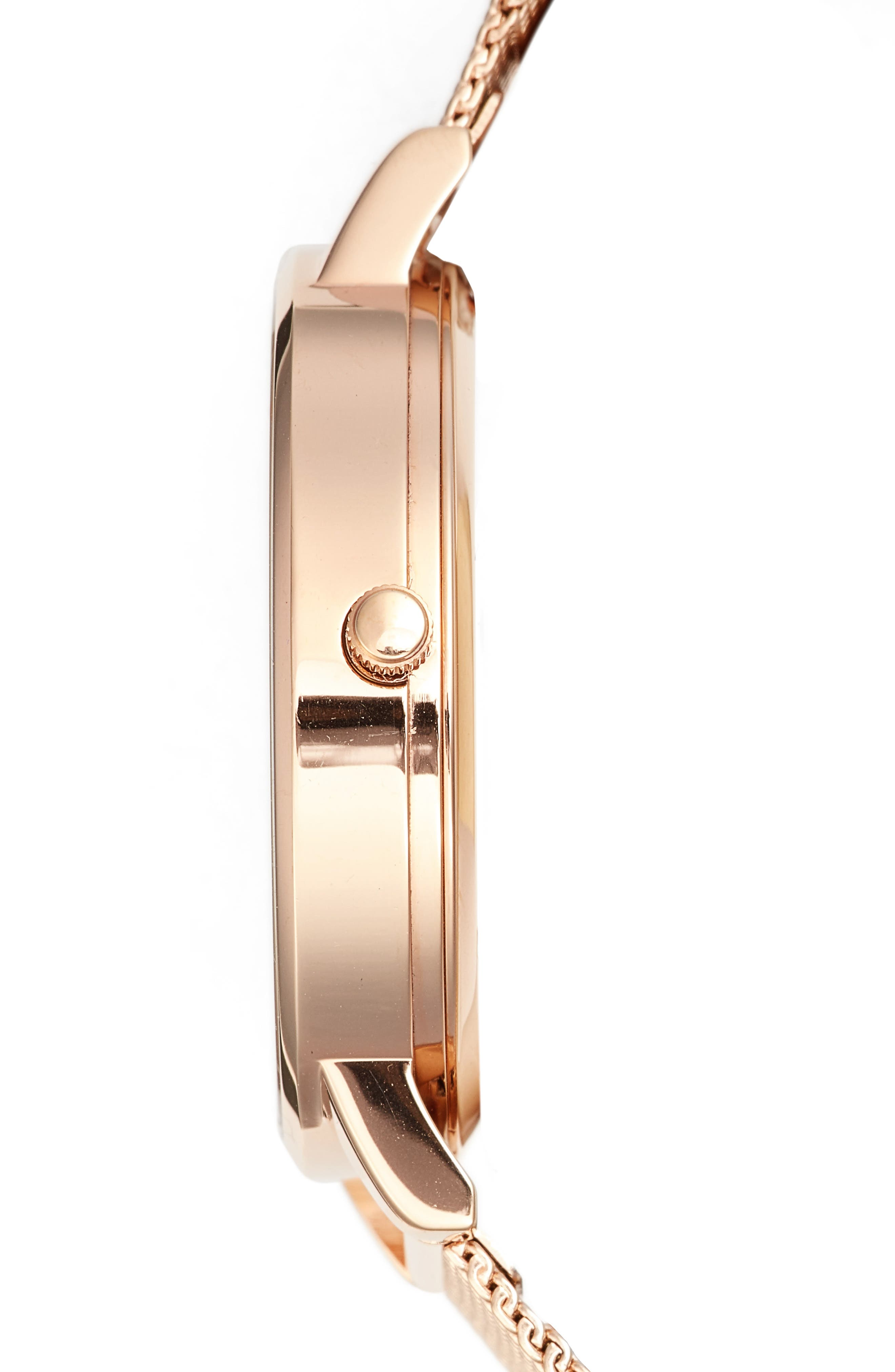 Oliva Burton Abstract Florals Mesh Bracelet Watch, 38mm,                             Alternate thumbnail 4, color,                             ROSE GOLD