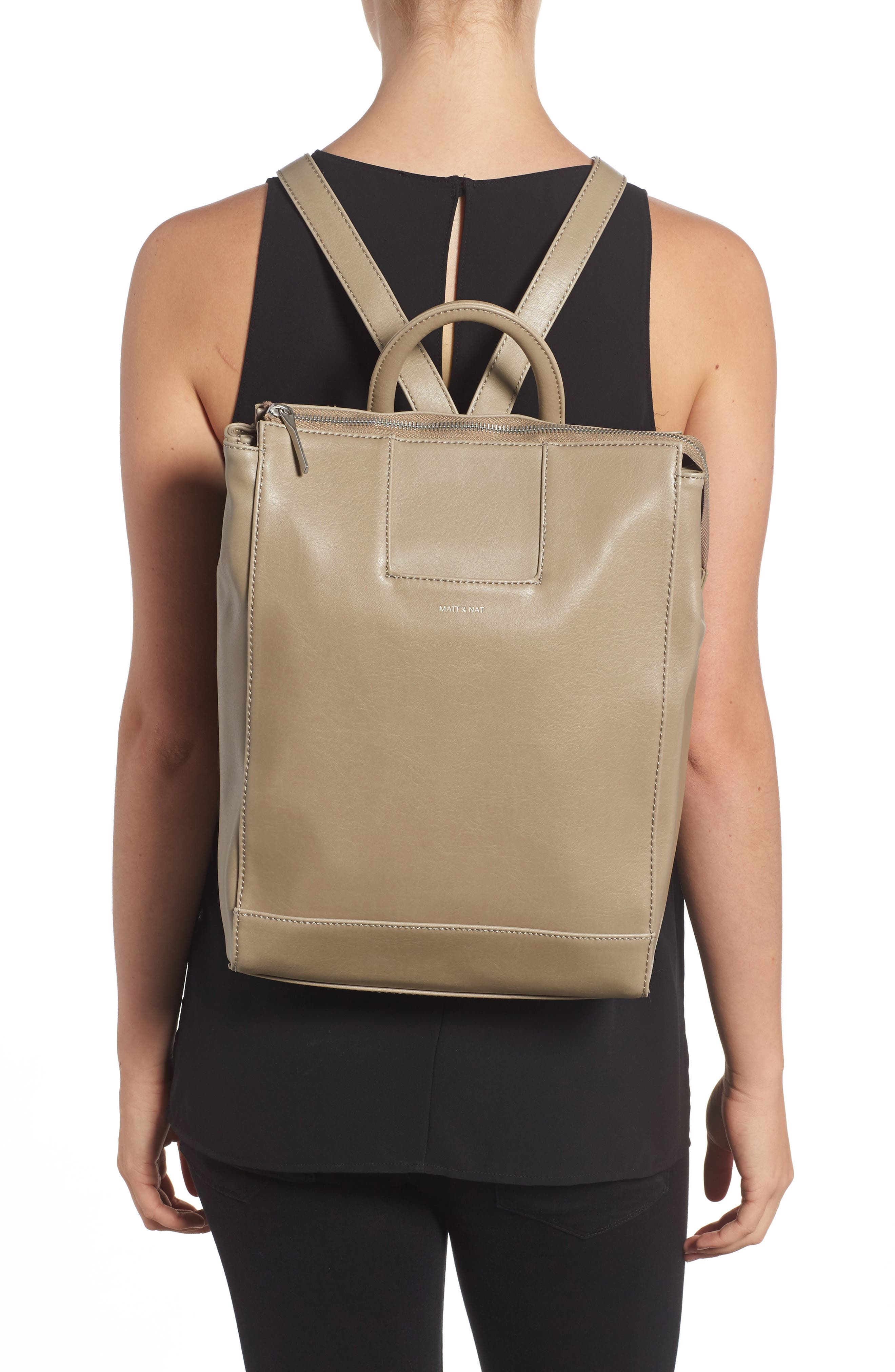 'Katherine' Faux Leather Backpack,                             Alternate thumbnail 8, color,
