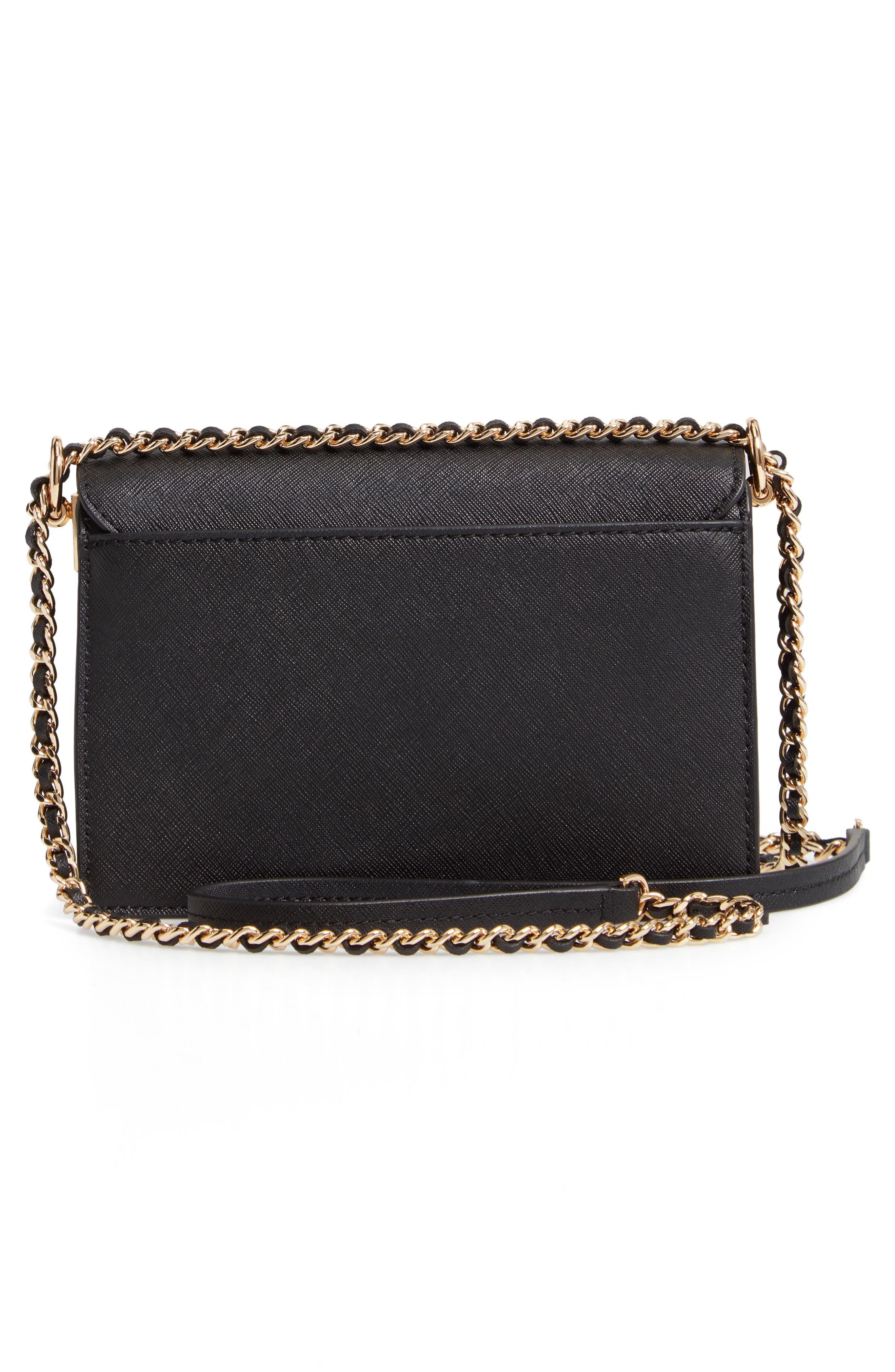 Mini Robinson Convertible Leather Shoulder Bag,                             Alternate thumbnail 3, color,                             BLACK