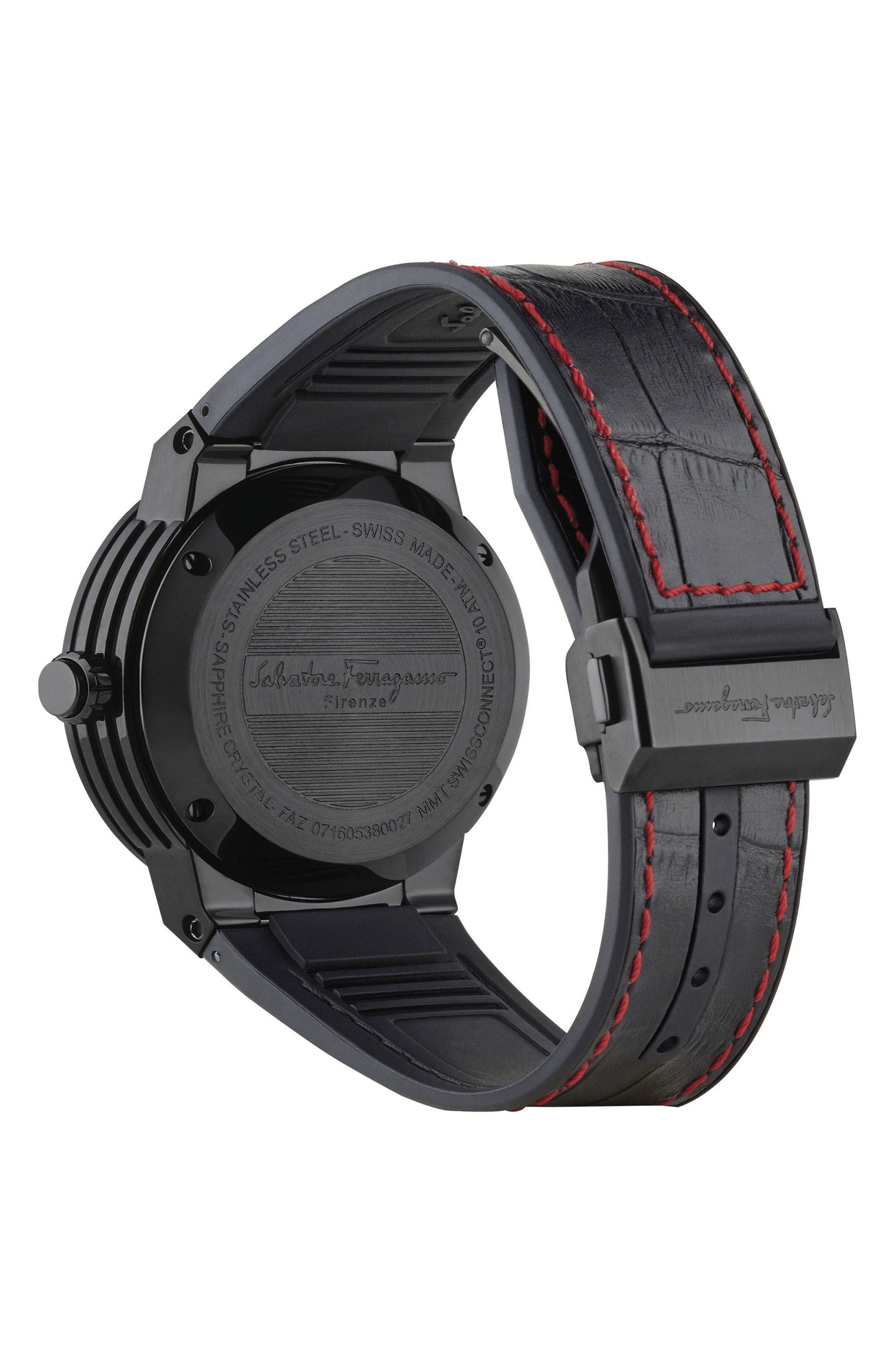 'F-80 Motion' Leather Strap Smart Watch, 44mm,                             Alternate thumbnail 6, color,