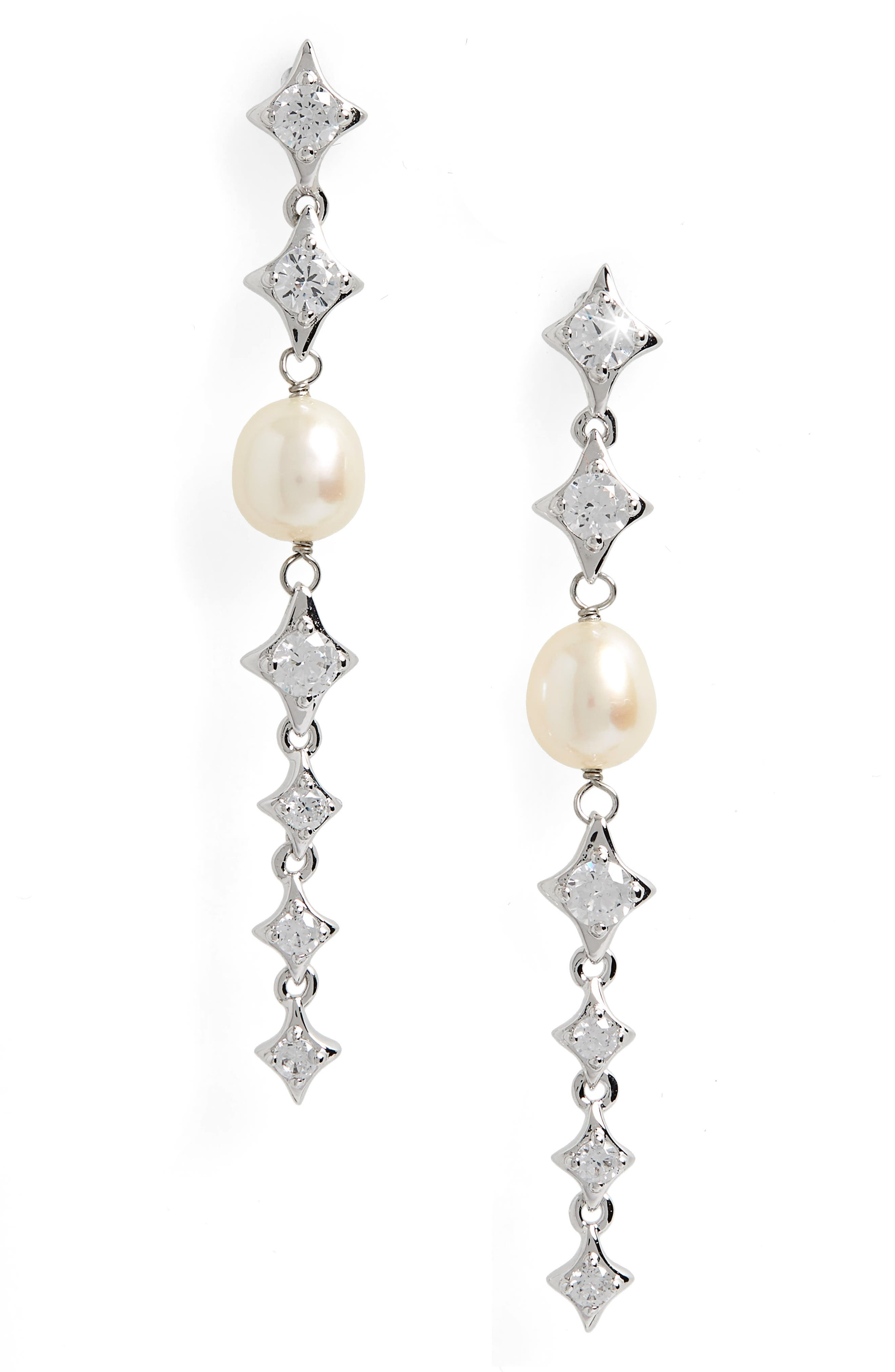 Pearl Fringe Drop Earrings,                             Main thumbnail 1, color,                             101