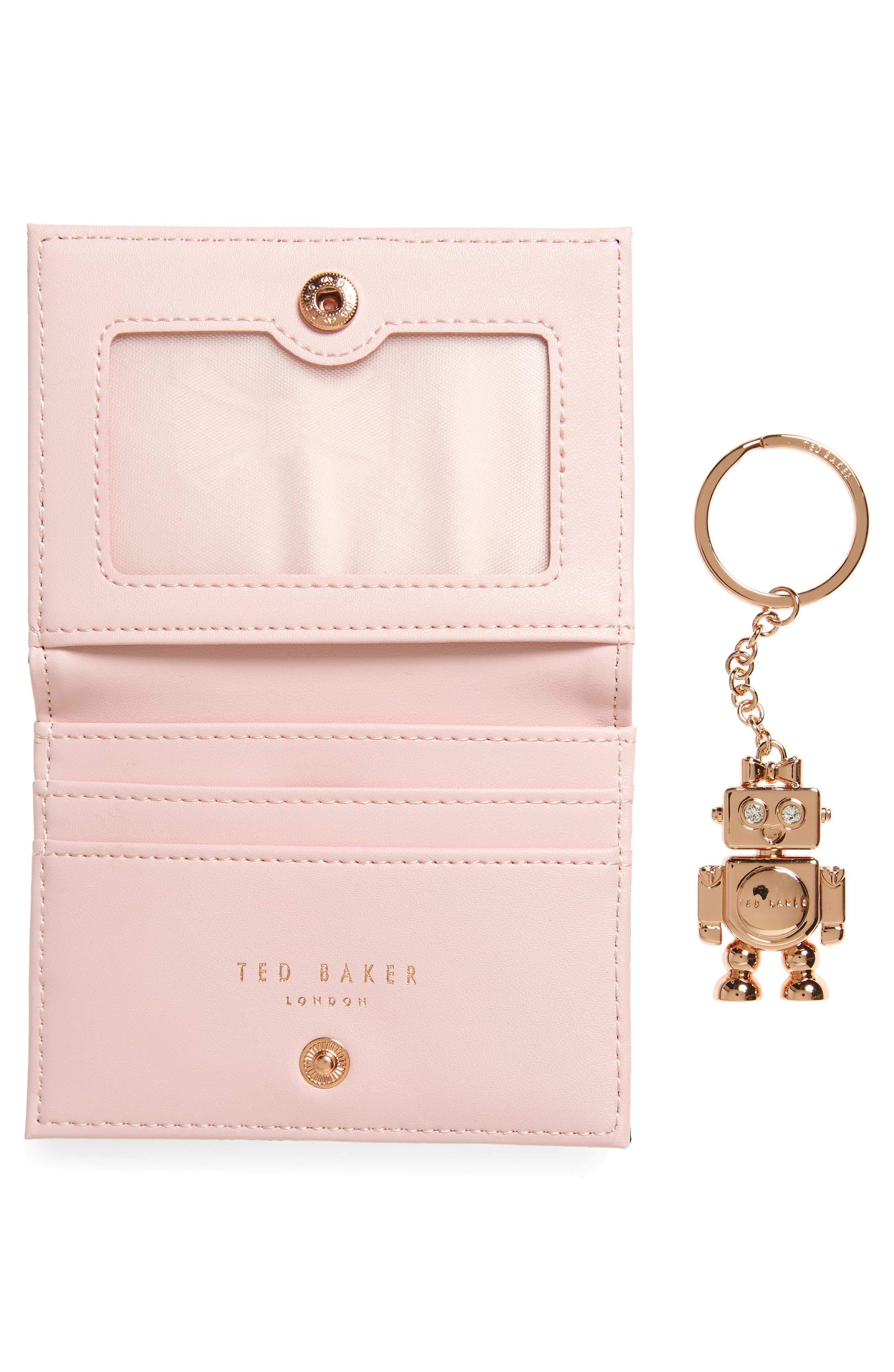 Leather Card Case with Robot Key Chain,                             Alternate thumbnail 4, color,