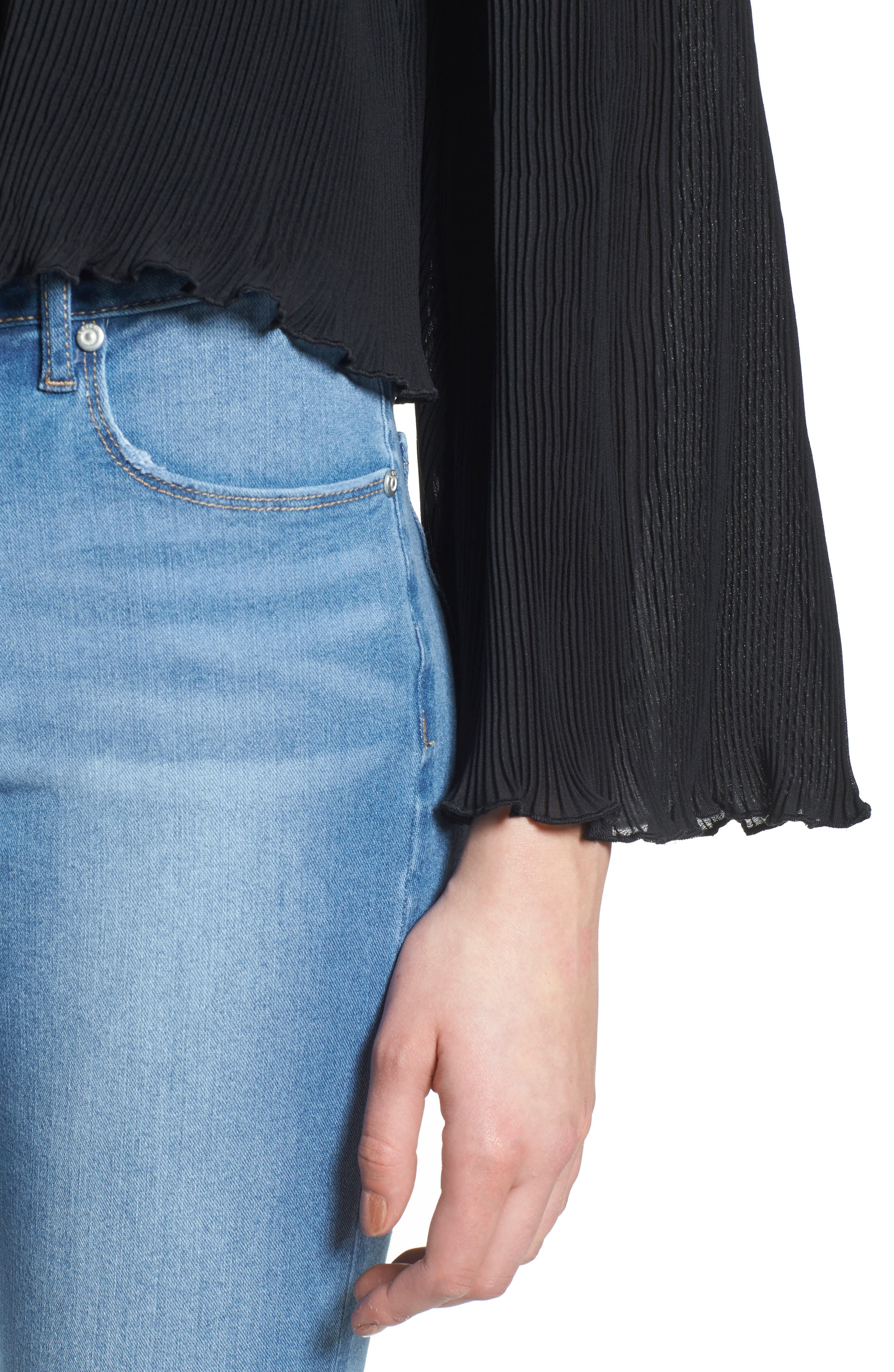 Pleated Bell Sleeve Top,                             Alternate thumbnail 4, color,                             001