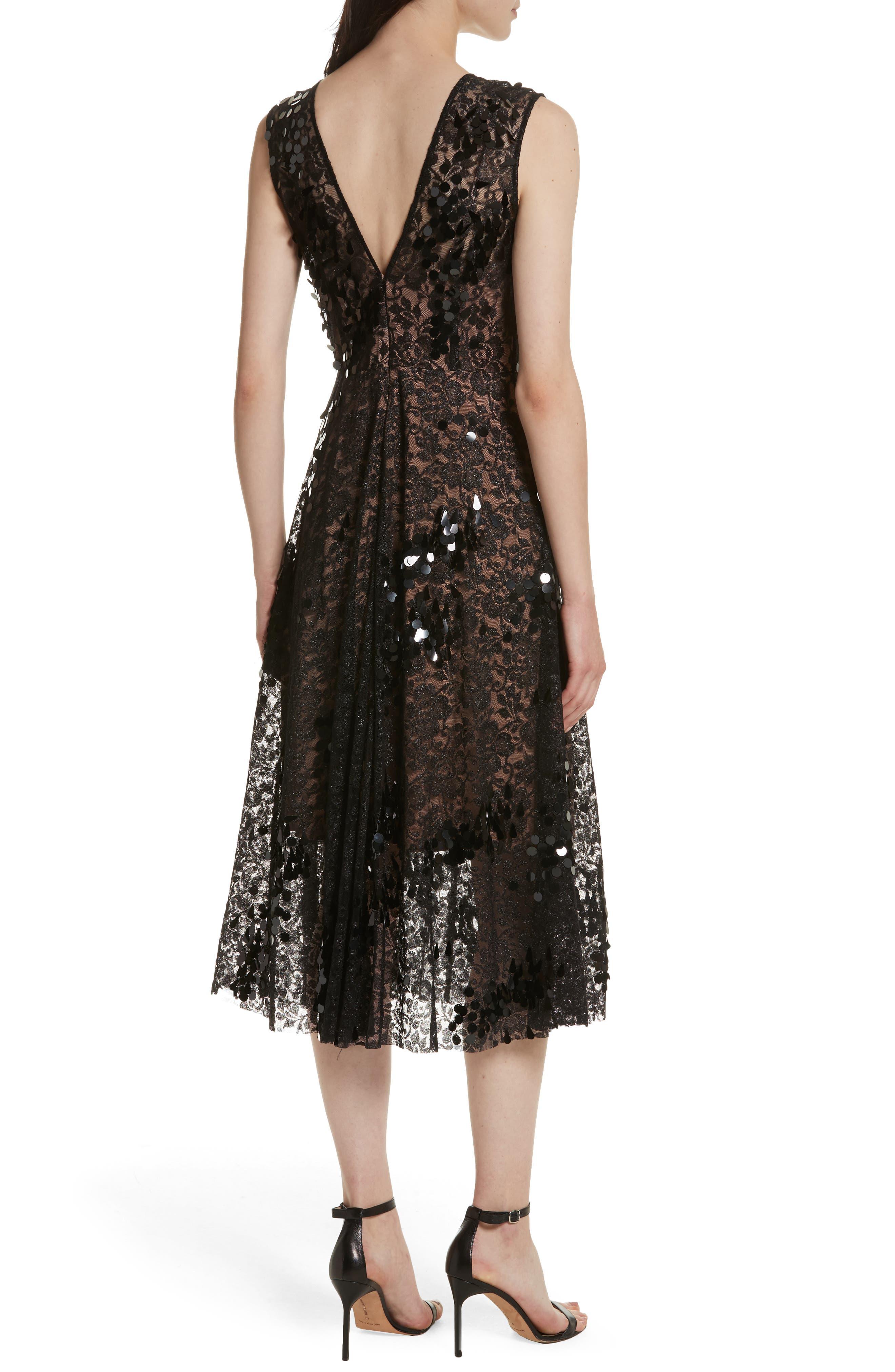 Lace Fit & Flare Midi Dress,                             Alternate thumbnail 2, color,