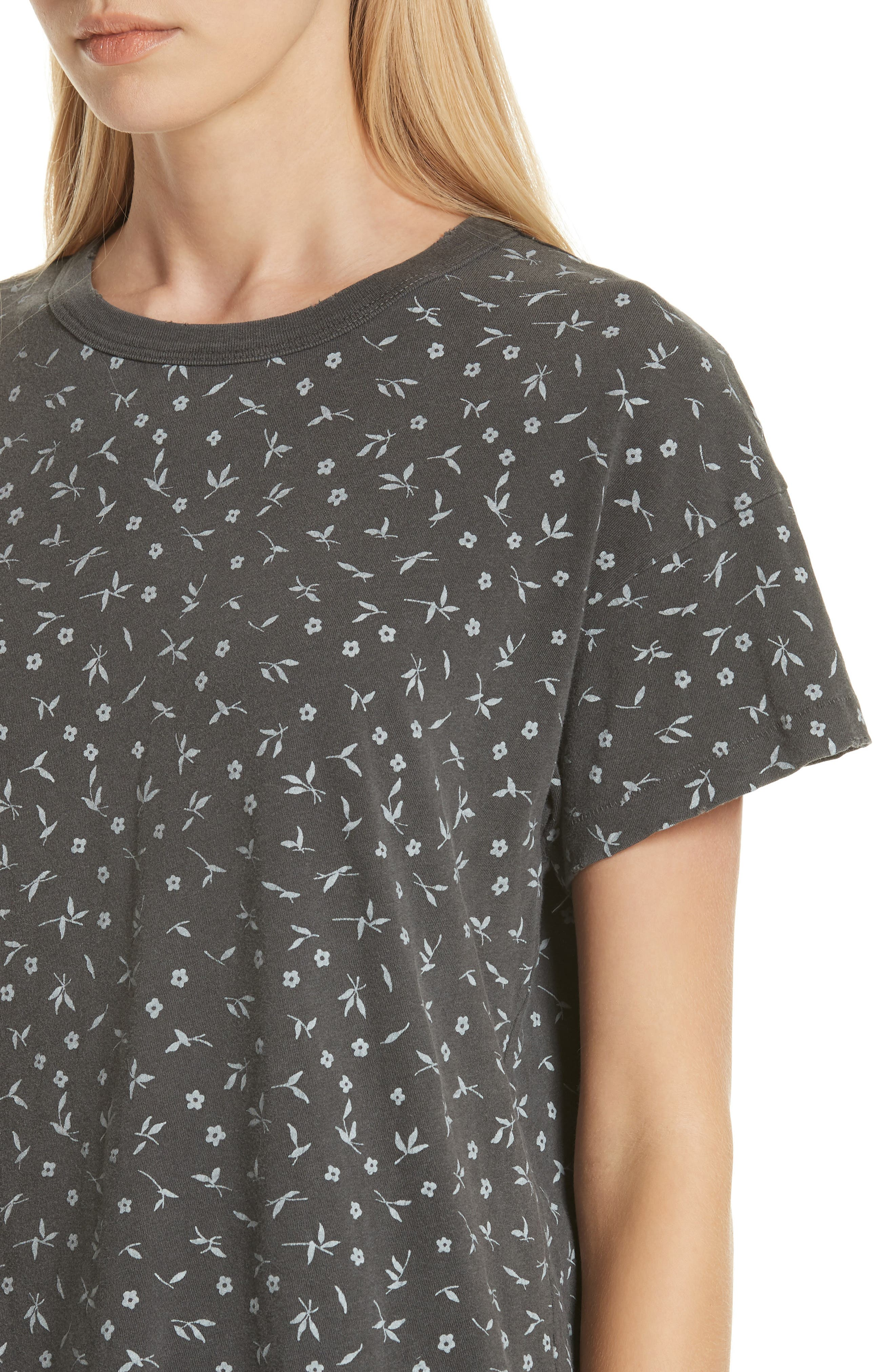 The Boxy Crew Tee,                             Alternate thumbnail 4, color,                             WASHED BLACK DITZY FLORAL