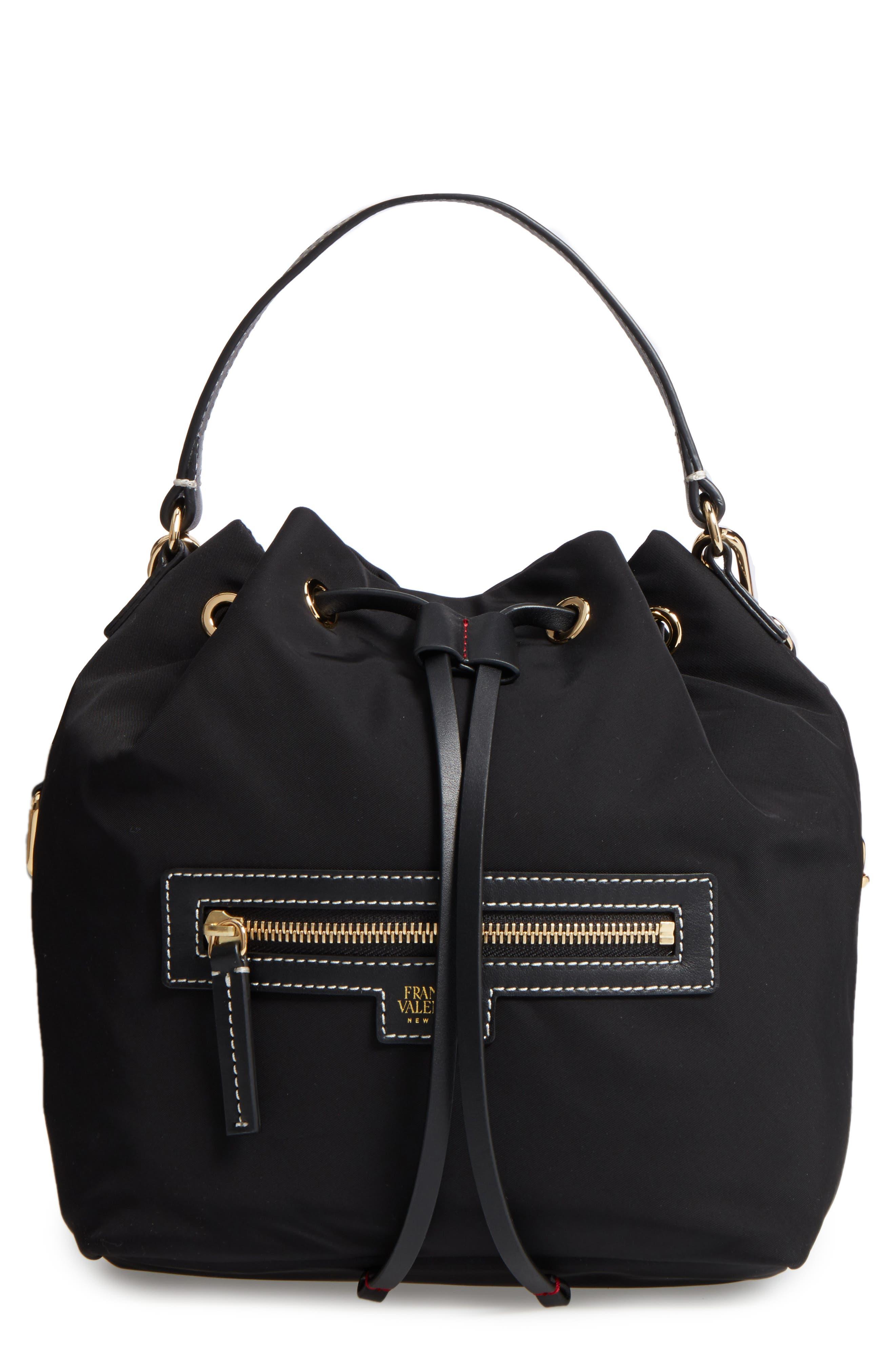 Medium Ann Nylon Bucket Bag,                             Main thumbnail 1, color,                             001