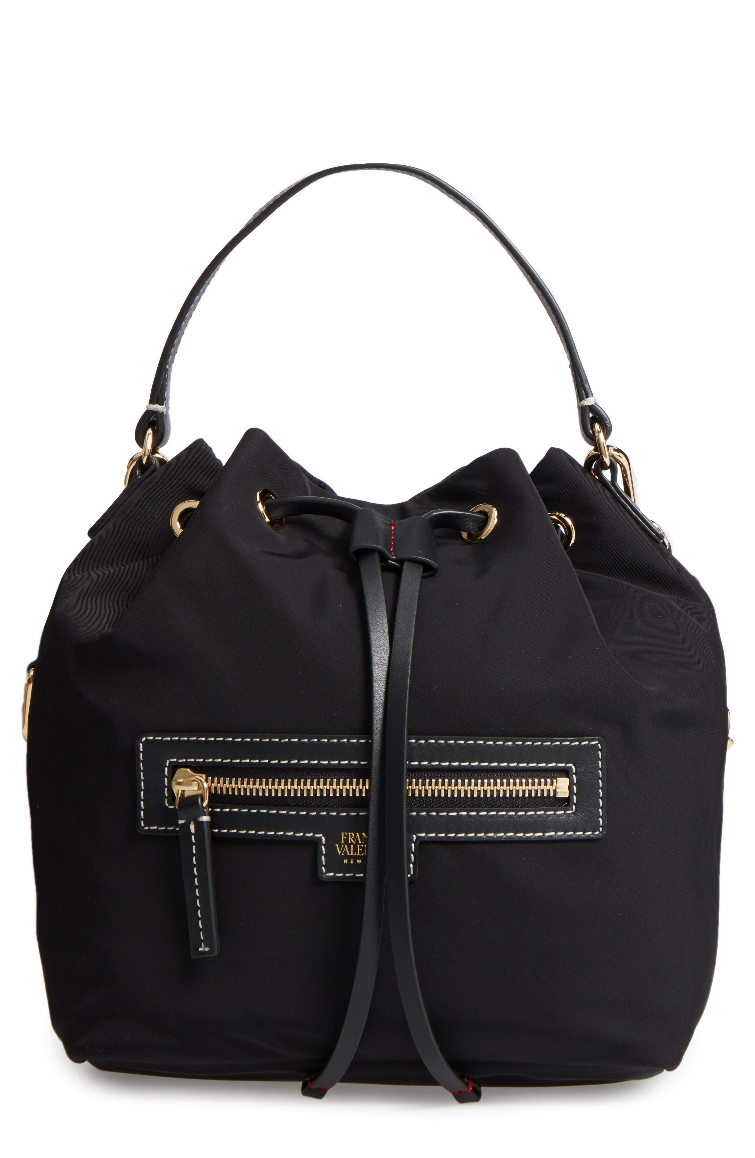 Medium Ann Nylon Bucket Bag,                         Main,                         color, 001