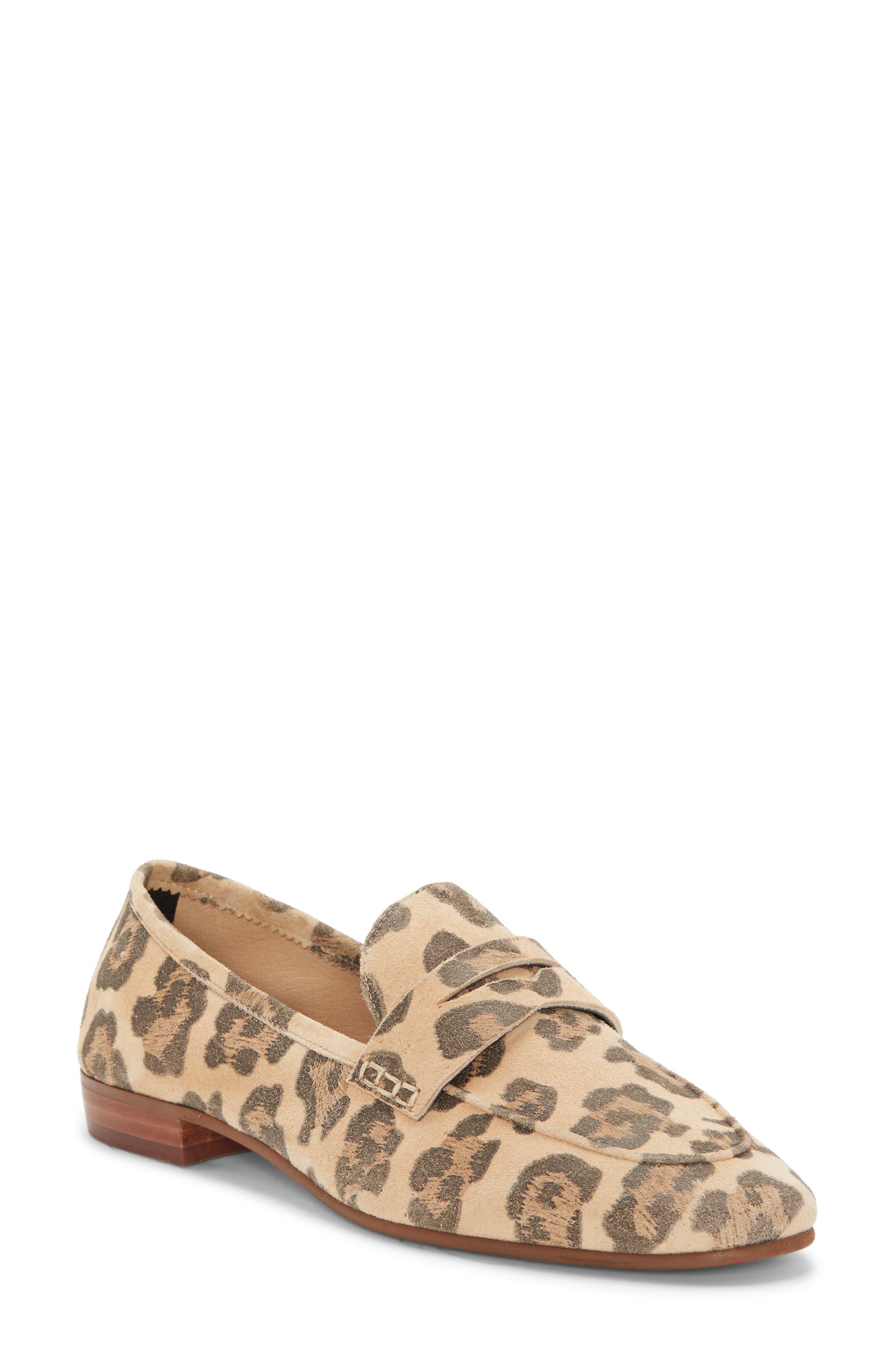 Women'S Macinda Metallic Leather Loafers in Natural Leopard Haircalf
