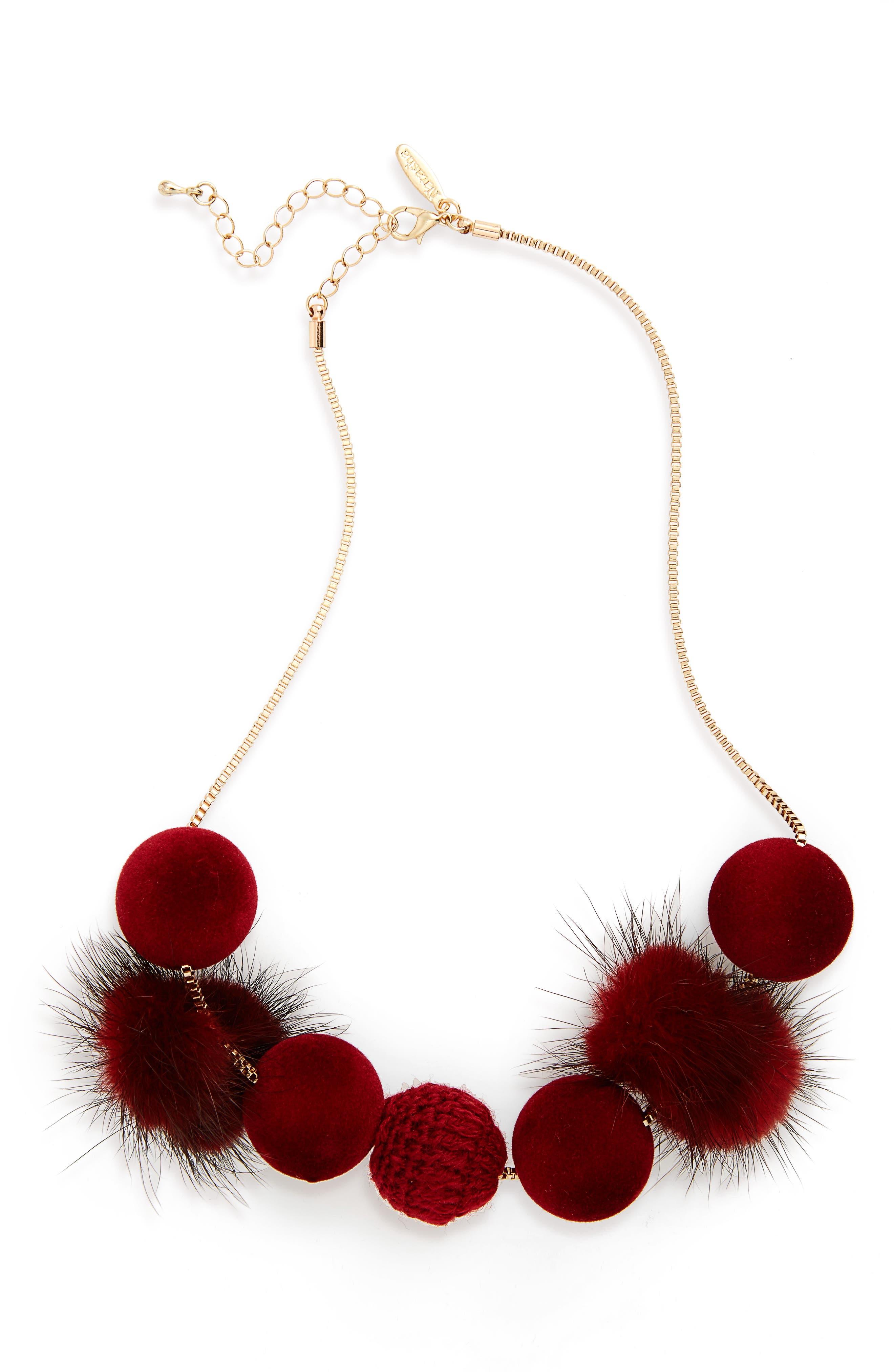Fuzzy Pompom Necklace,                             Main thumbnail 2, color,
