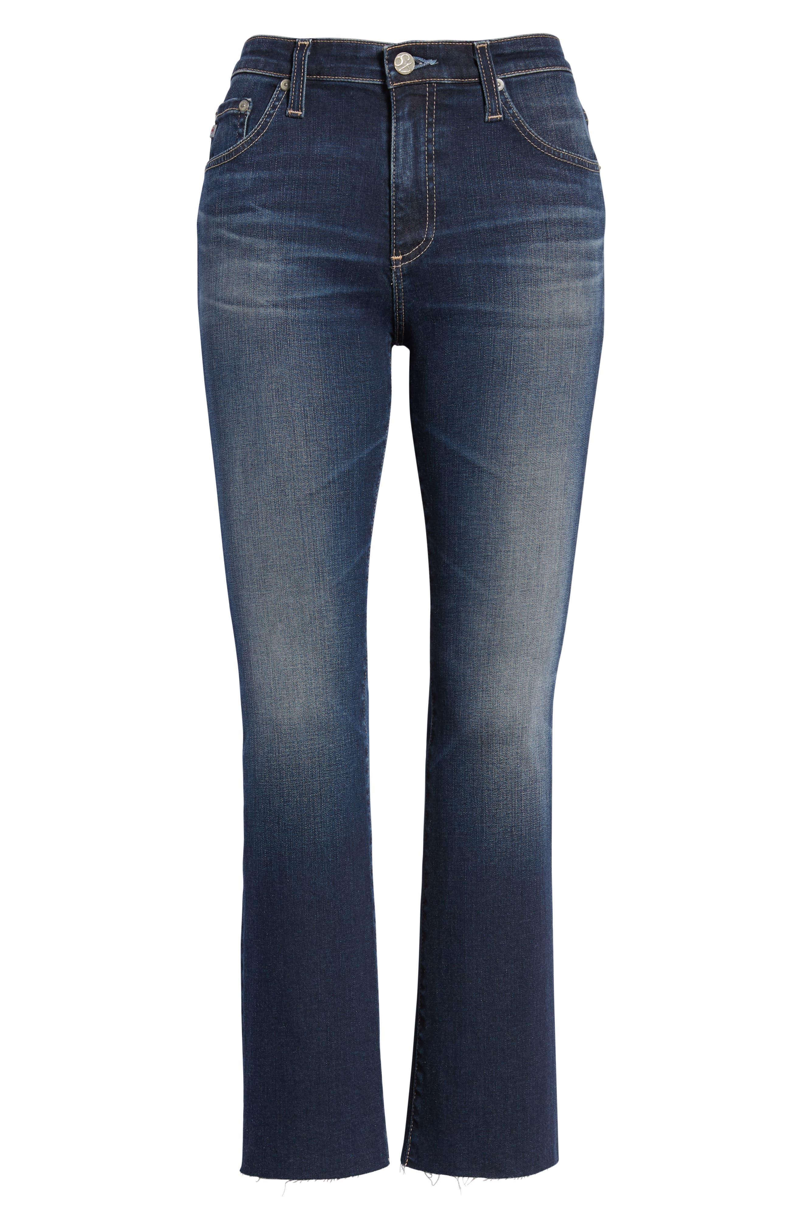 Jodi Raw Hem Crop Flare Jeans,                             Alternate thumbnail 7, color,                             10Y PURSUED