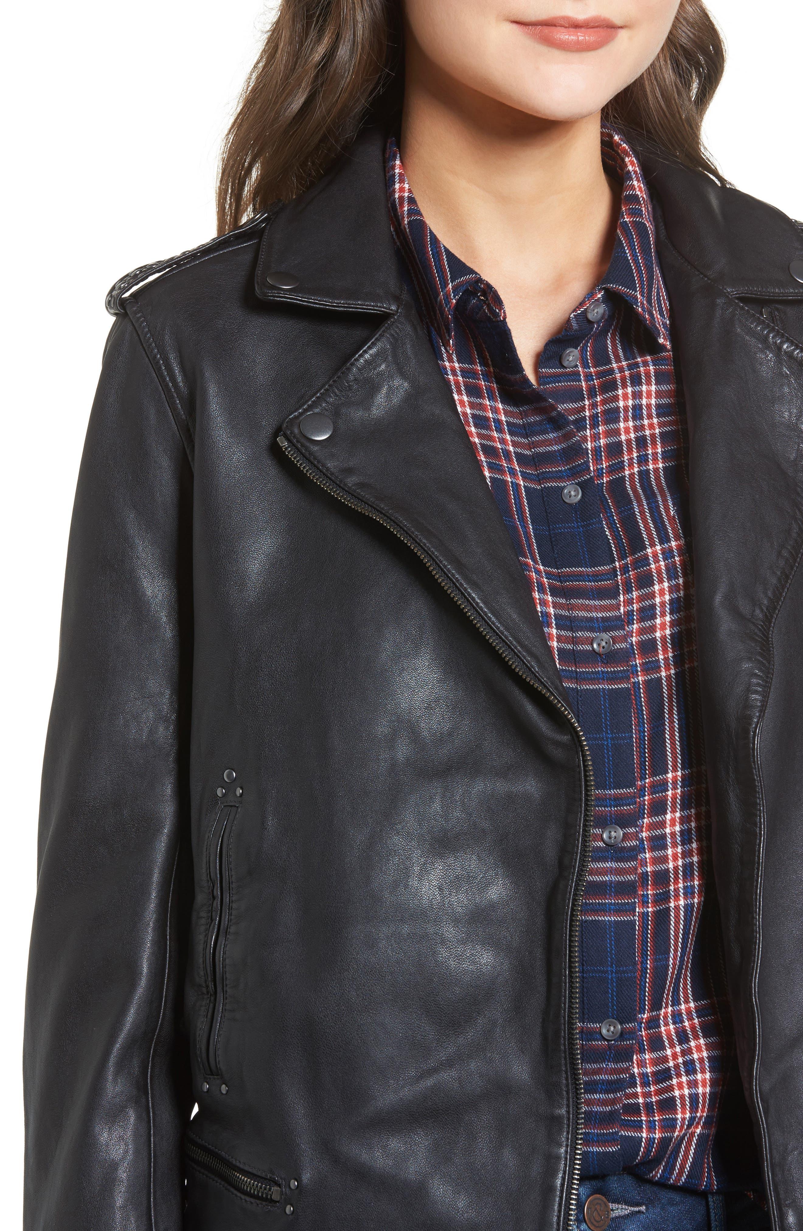 Studded Leather Jacket,                             Alternate thumbnail 4, color,