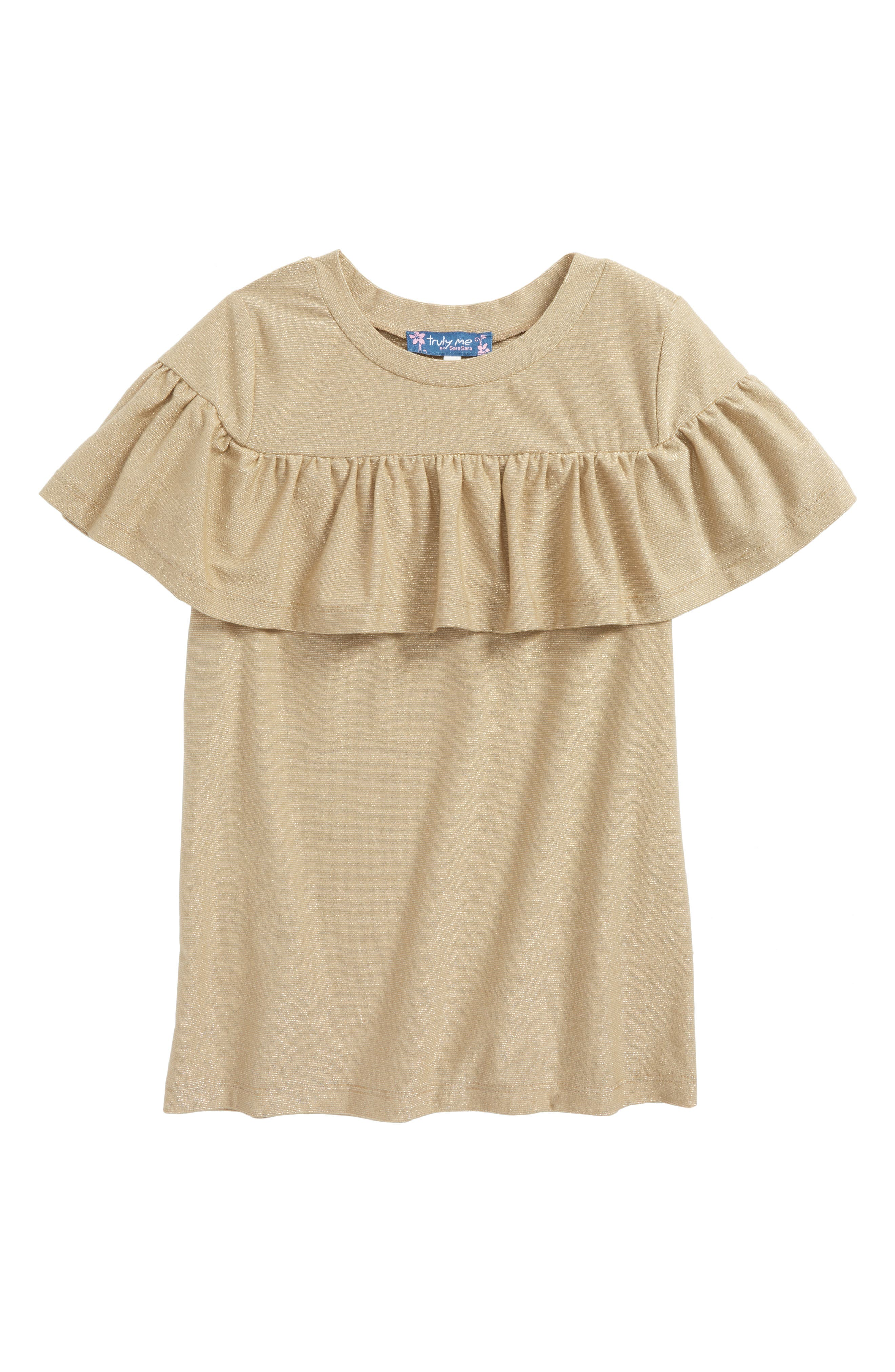 Metallic Ruffle Top,                             Main thumbnail 1, color,                             220