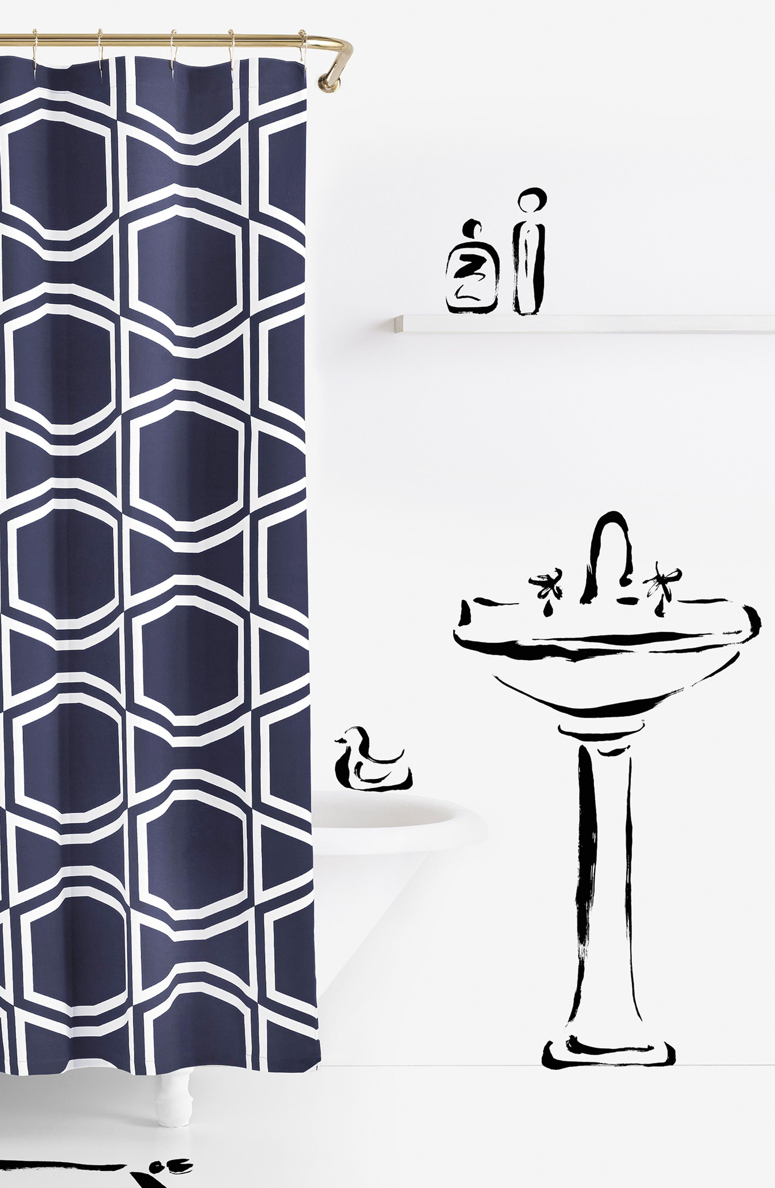 'bow tile' shower curtain,                             Main thumbnail 1, color,                             400