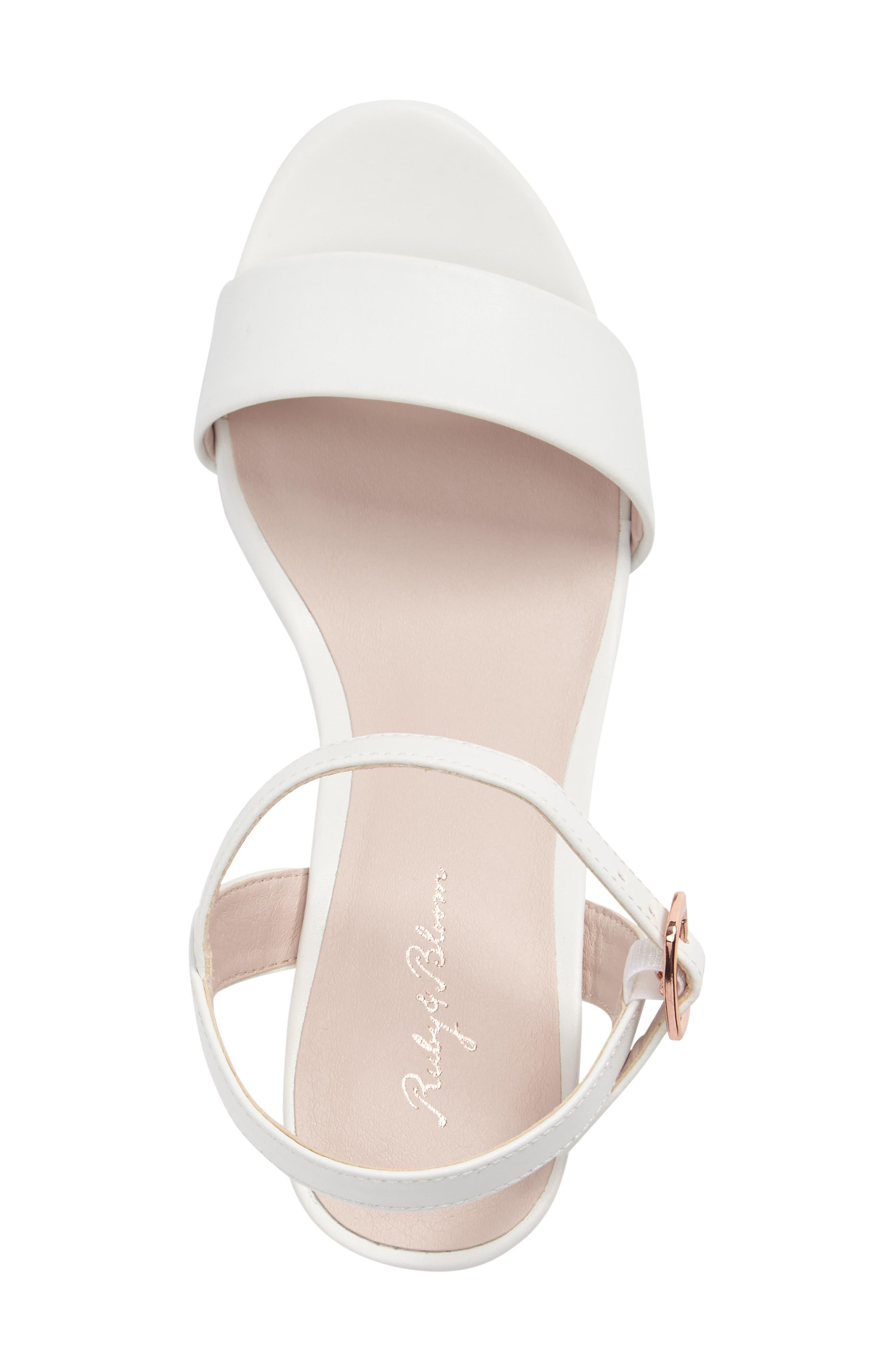 Danni Block Heel Sandal,                             Alternate thumbnail 3, color,                             WHITE FAUX LEATHER