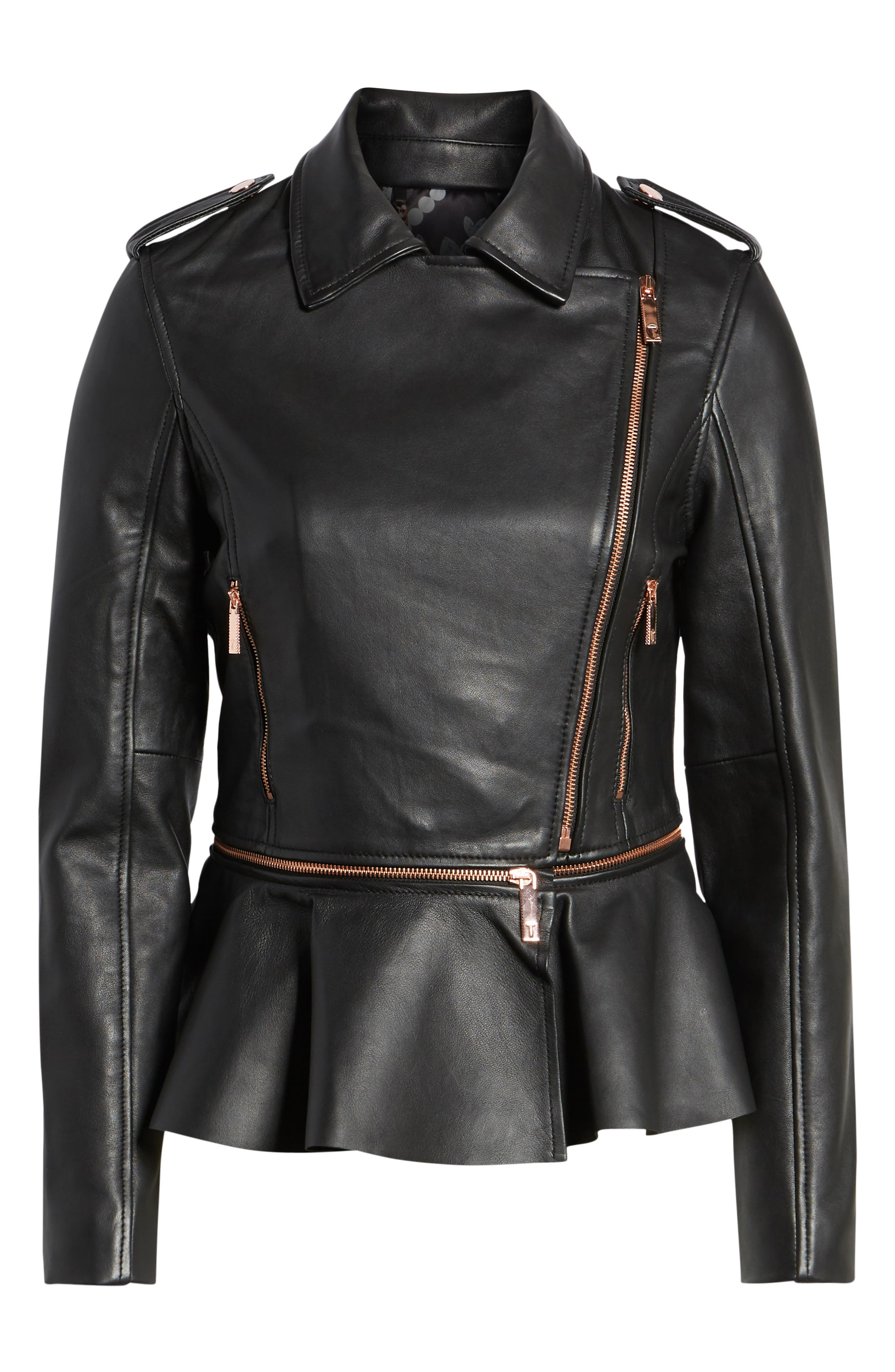 Zip-Off Peplum Leather Biker Jacket,                             Alternate thumbnail 6, color,                             001