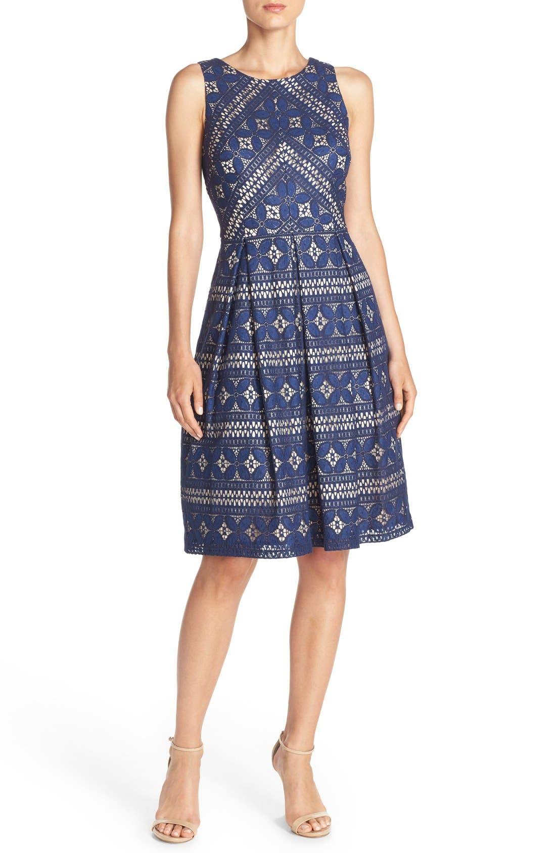 Lace Fit & Flare Dress,                             Alternate thumbnail 5, color,                             422
