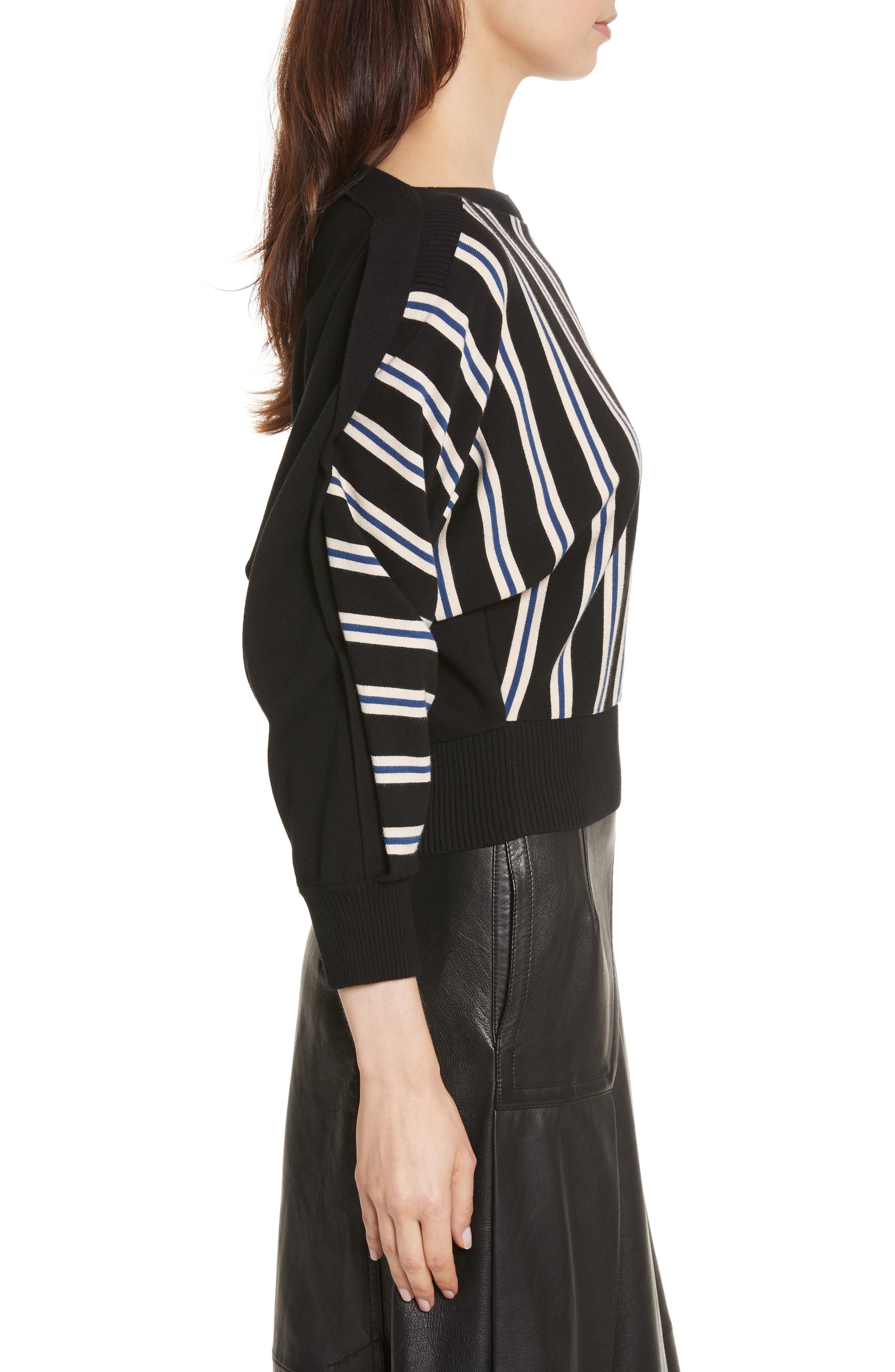Ottoman Stripe Pullover,                             Alternate thumbnail 3, color,                             001