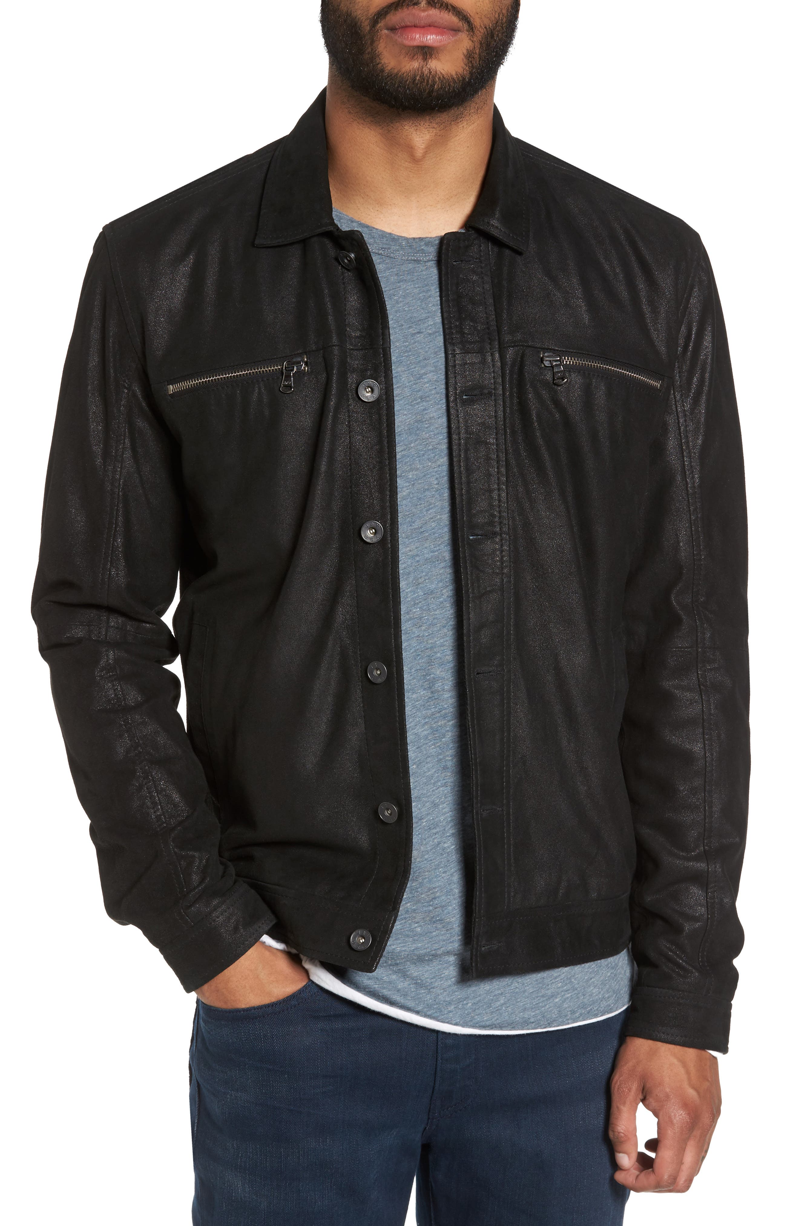 Leather Trucker Jacket,                             Main thumbnail 1, color,                             001