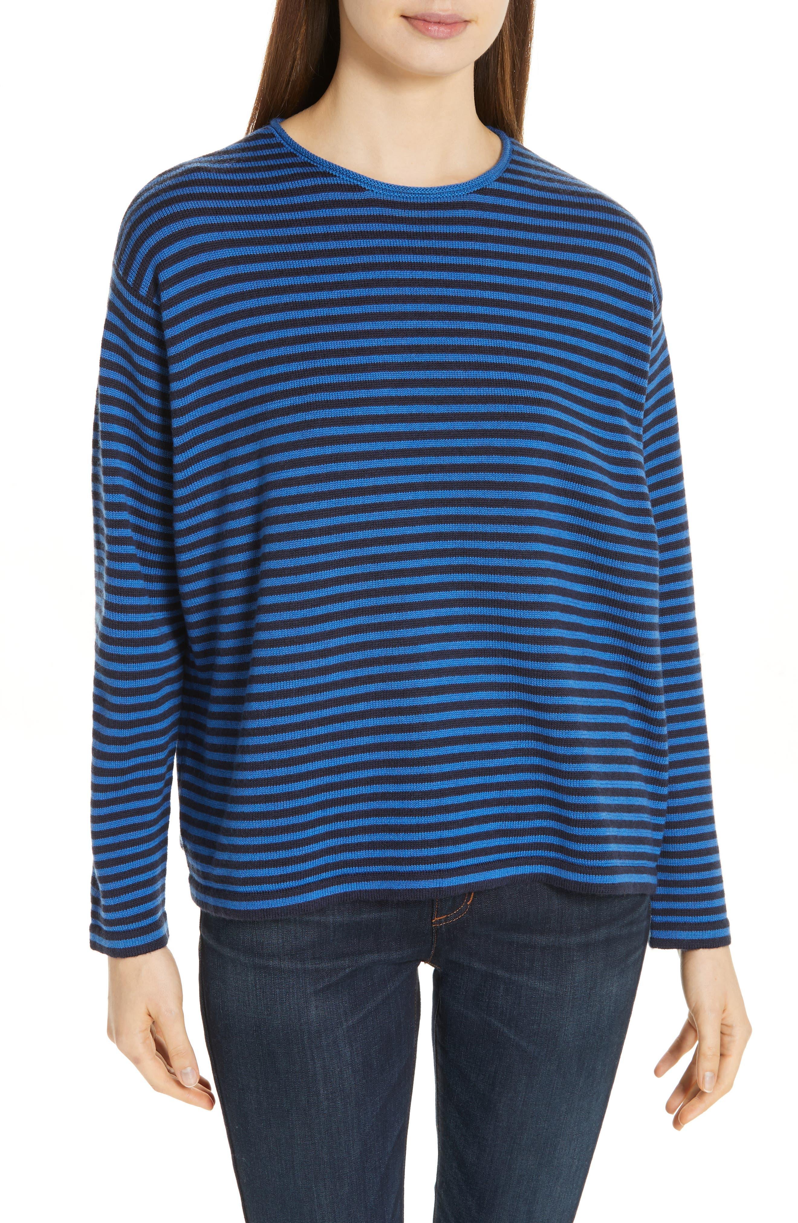 Plus Size Eileen Fisher Merino Wool Sweater, Blue