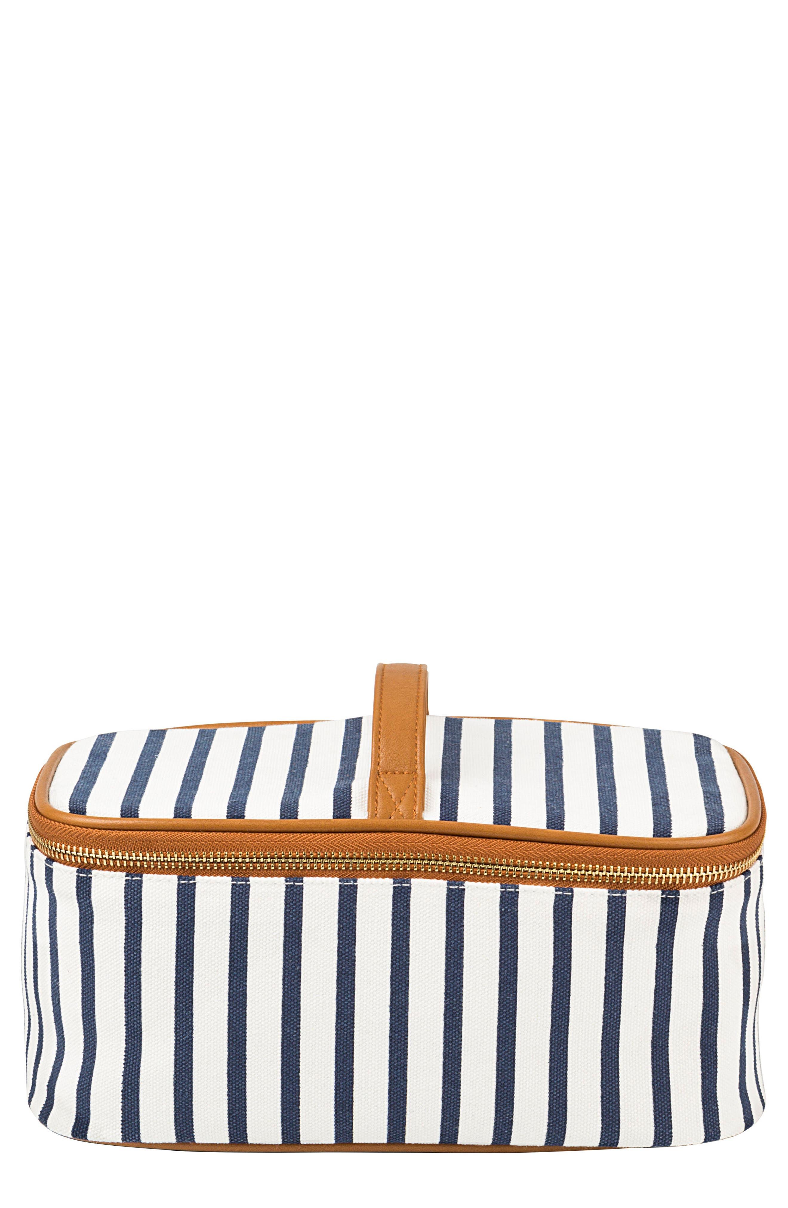 Monogram Stripe Canvas Cosmetics Case,                             Main thumbnail 1, color,                             BLUE