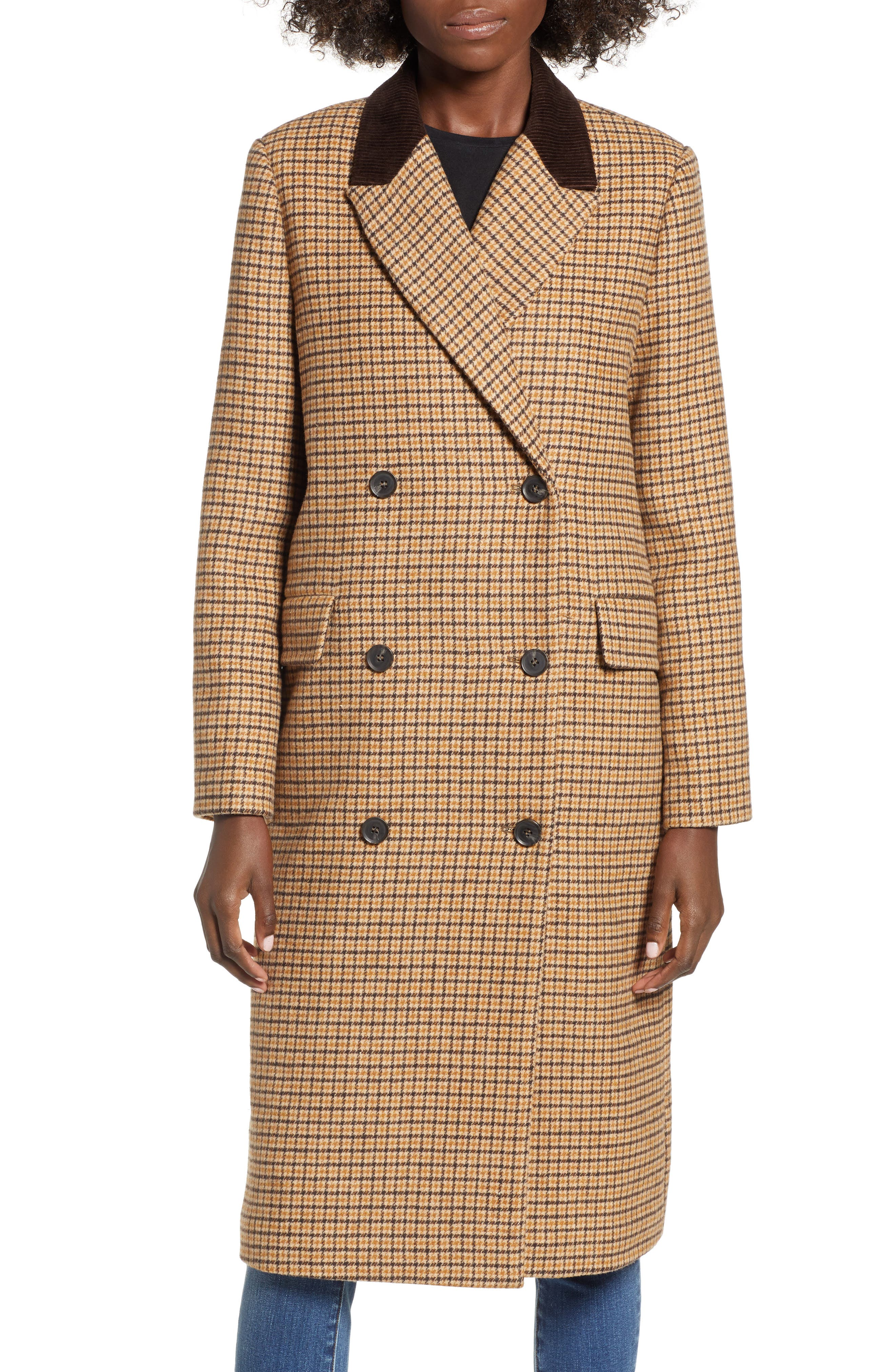 MOON RIVER,                             Houndstooth Double Breasted COat,                             Alternate thumbnail 4, color,                             BROWN PLAID