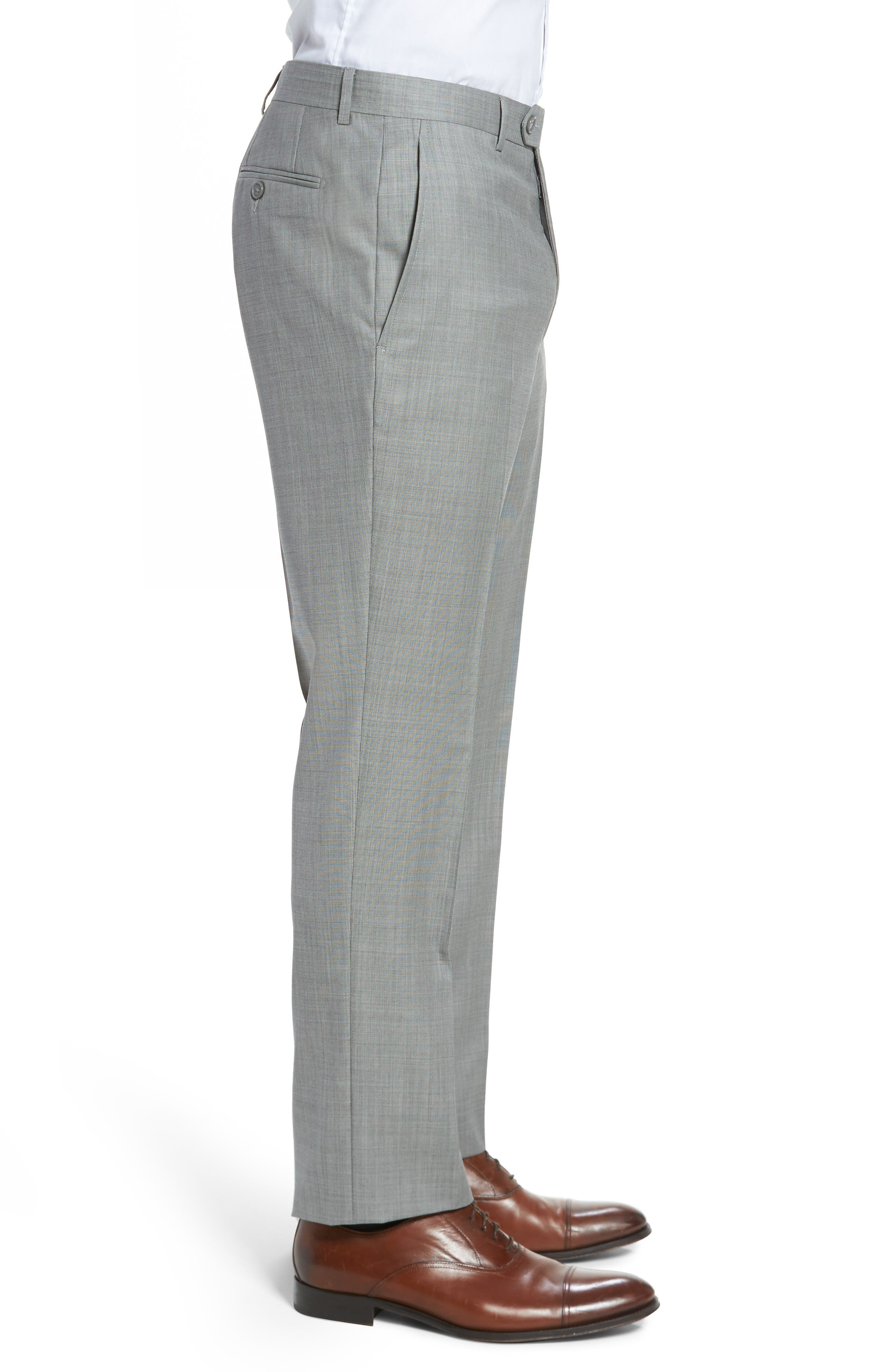 Flat Front Solid Wool Trousers,                             Alternate thumbnail 4, color,                             076