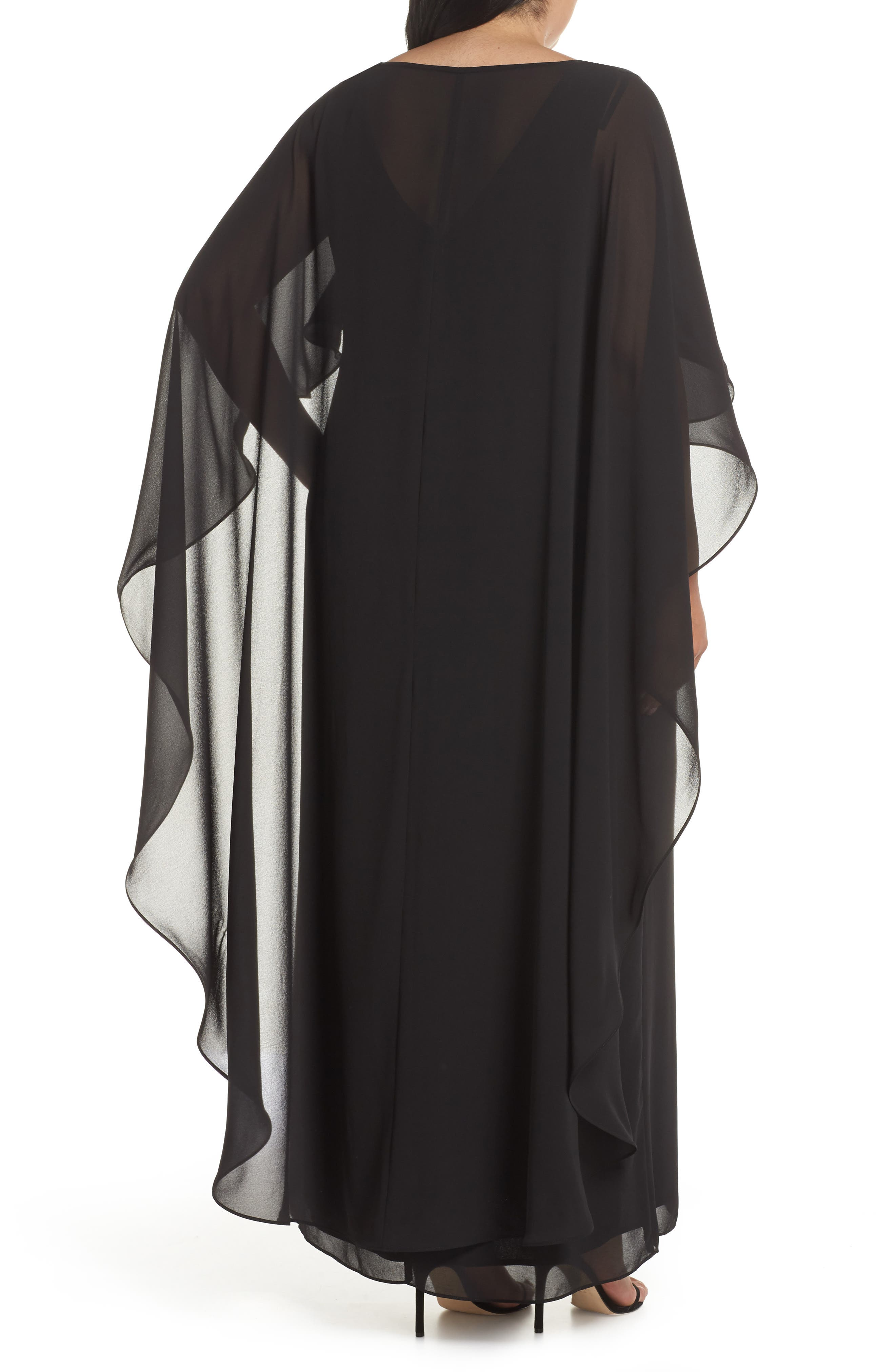 Cape Overlay Chiffon Gown,                             Alternate thumbnail 2, color,                             BLACK