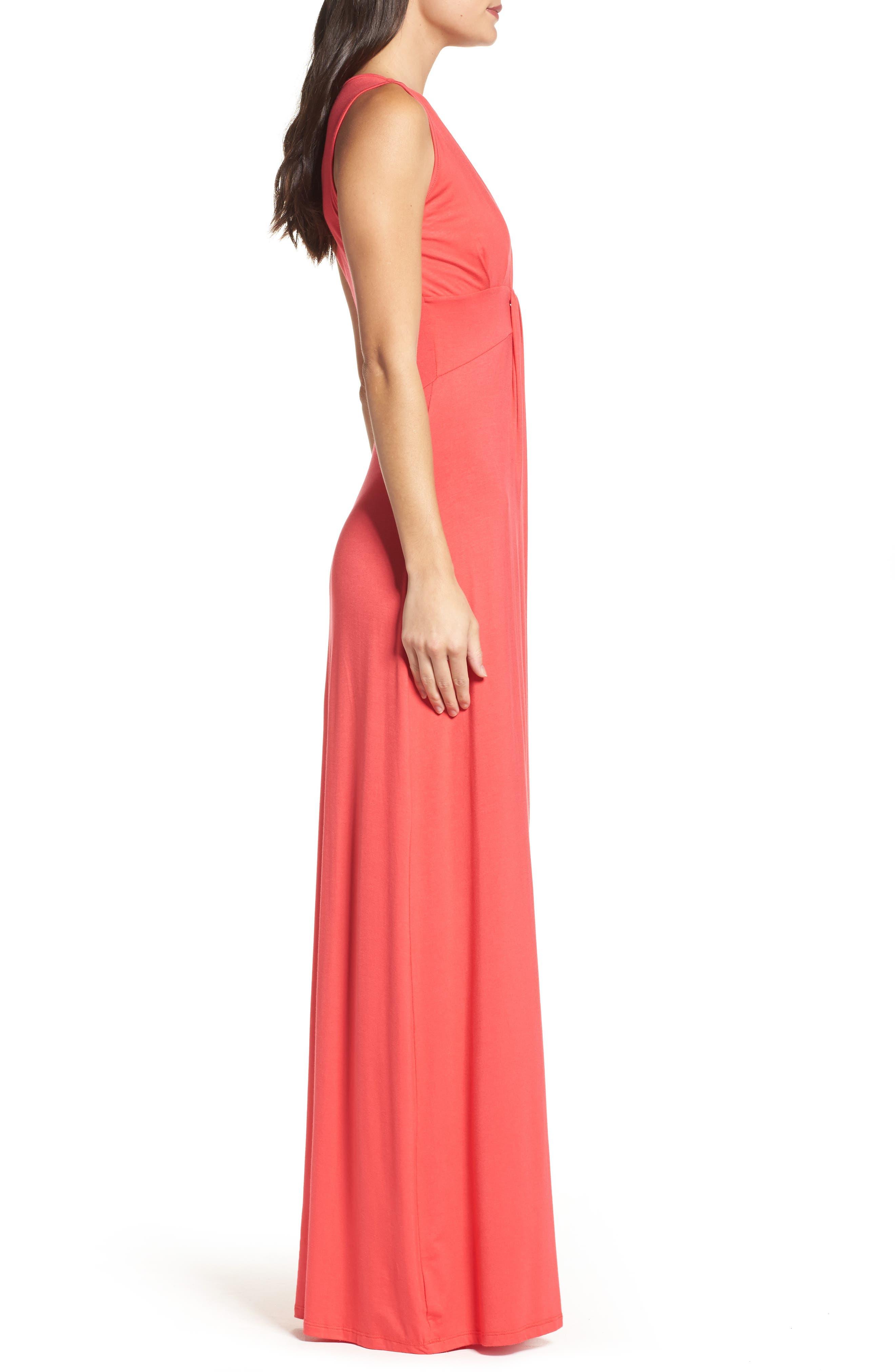 Deep V-Neck Jersey Maxi Dress,                             Alternate thumbnail 3, color,                             CORAL
