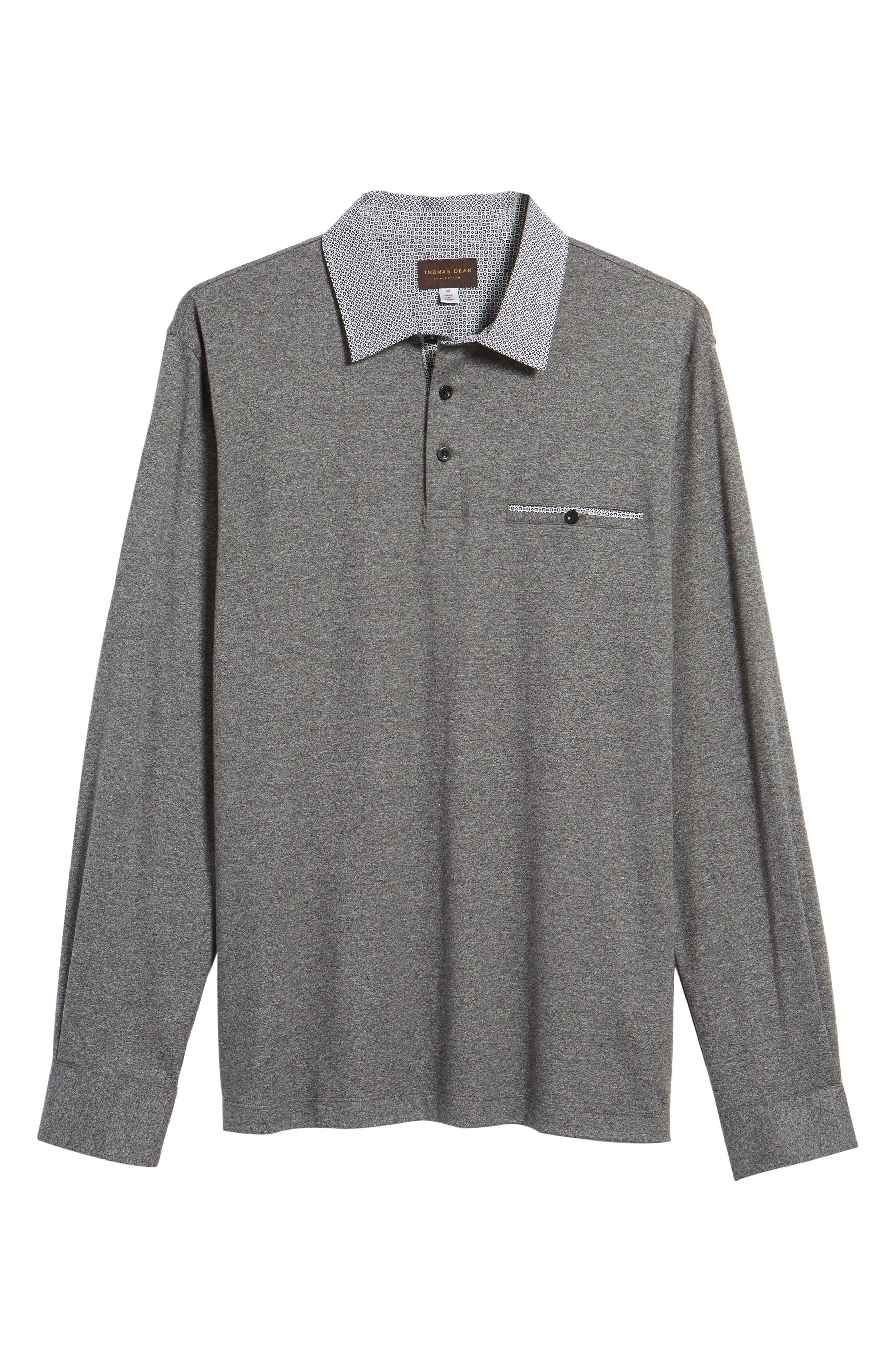 Long Sleeve Woven Trim Polo,                             Alternate thumbnail 6, color,                             001