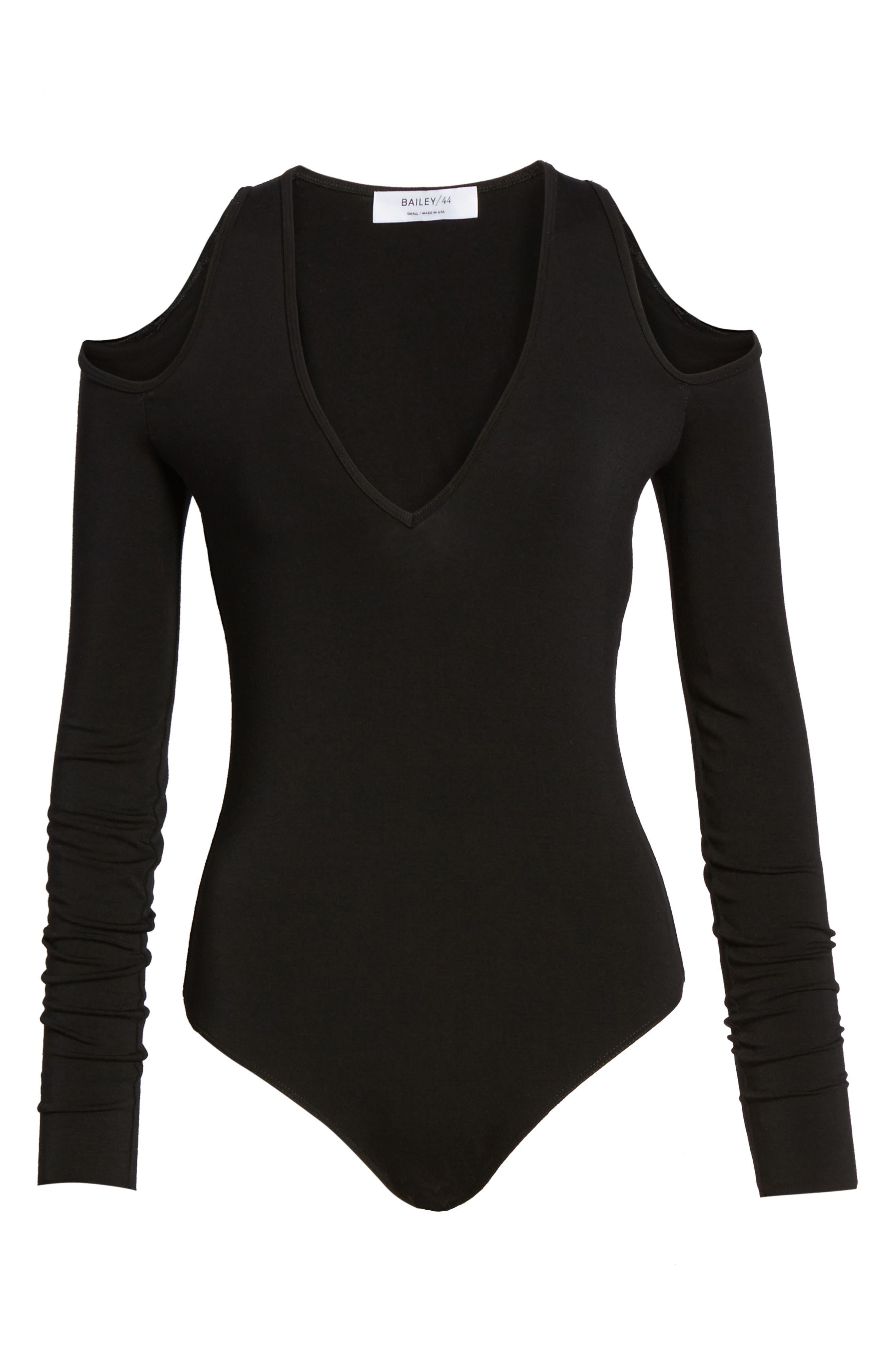Patricia Cold Shoulder Bodysuit,                             Alternate thumbnail 6, color,                             001