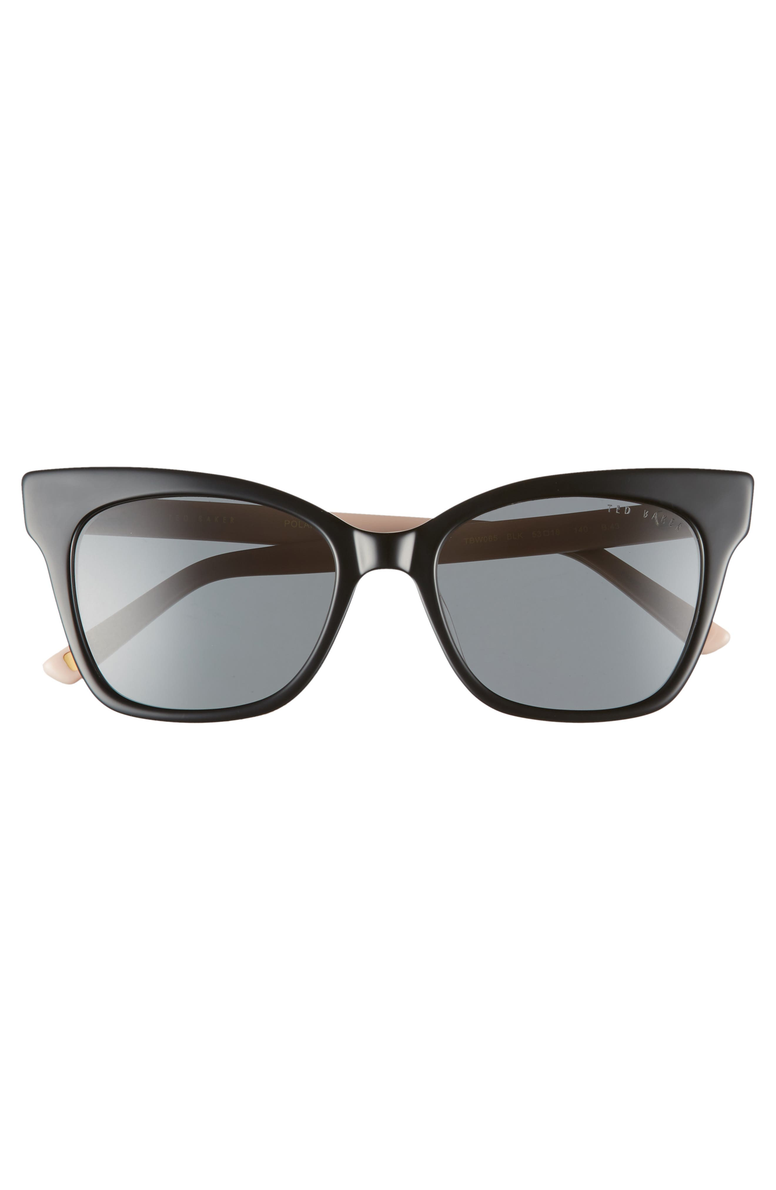 53mm Cat Eye Sunglasses,                             Alternate thumbnail 3, color,                             BLACK