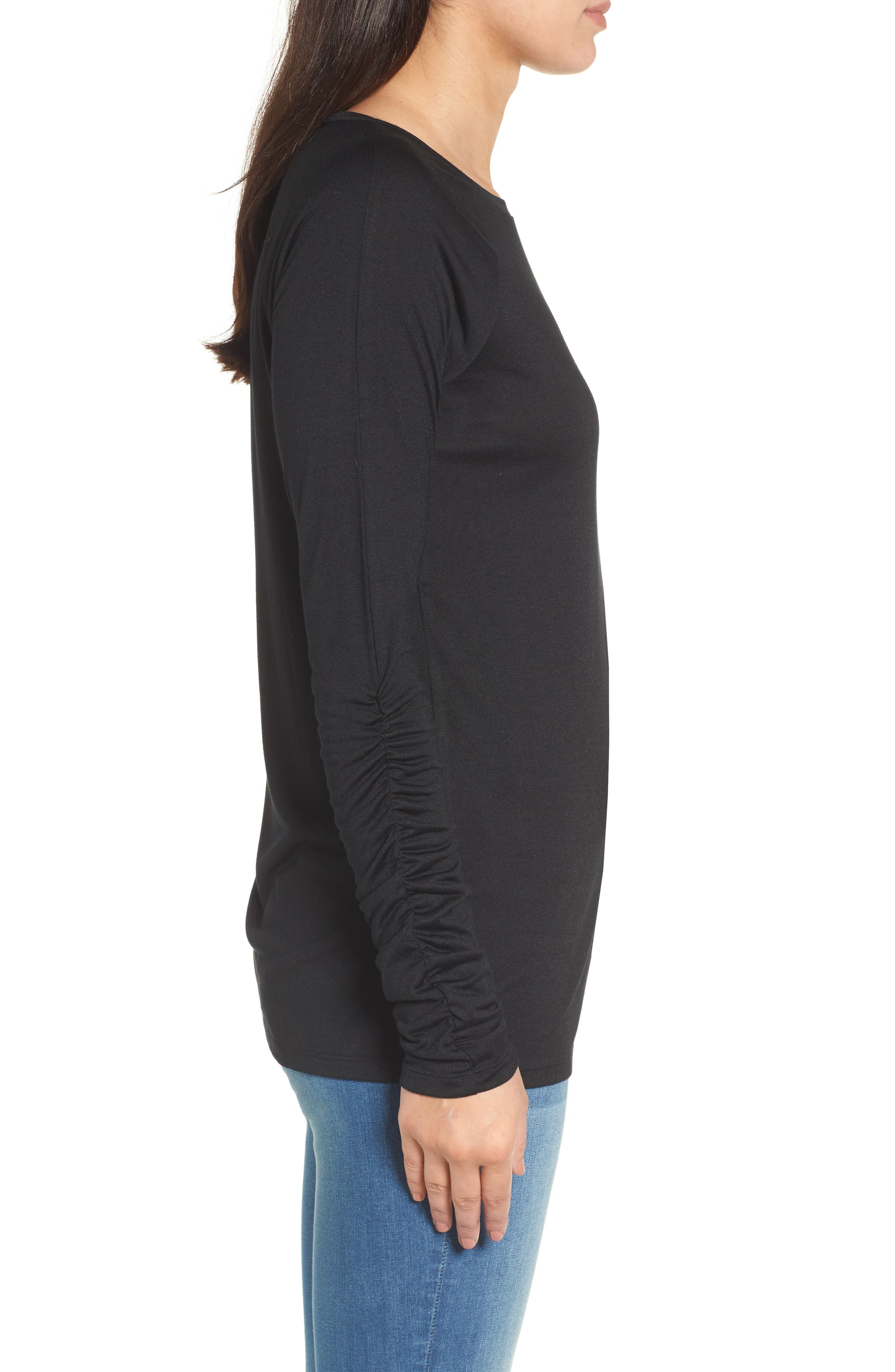 Ruched Sleeve Tee,                             Alternate thumbnail 3, color,                             001