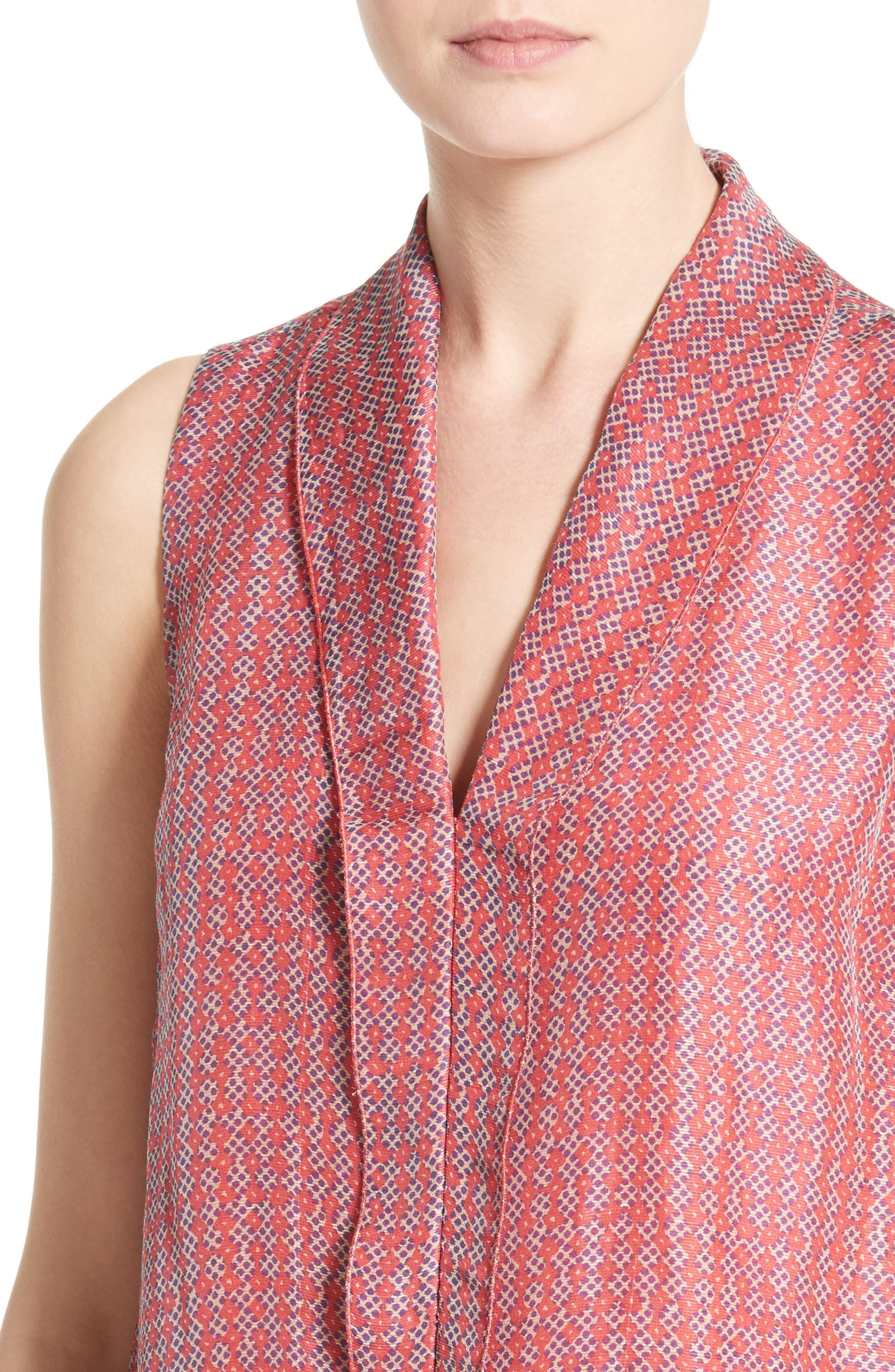 Print Linen & Silk Blouse,                             Alternate thumbnail 4, color,