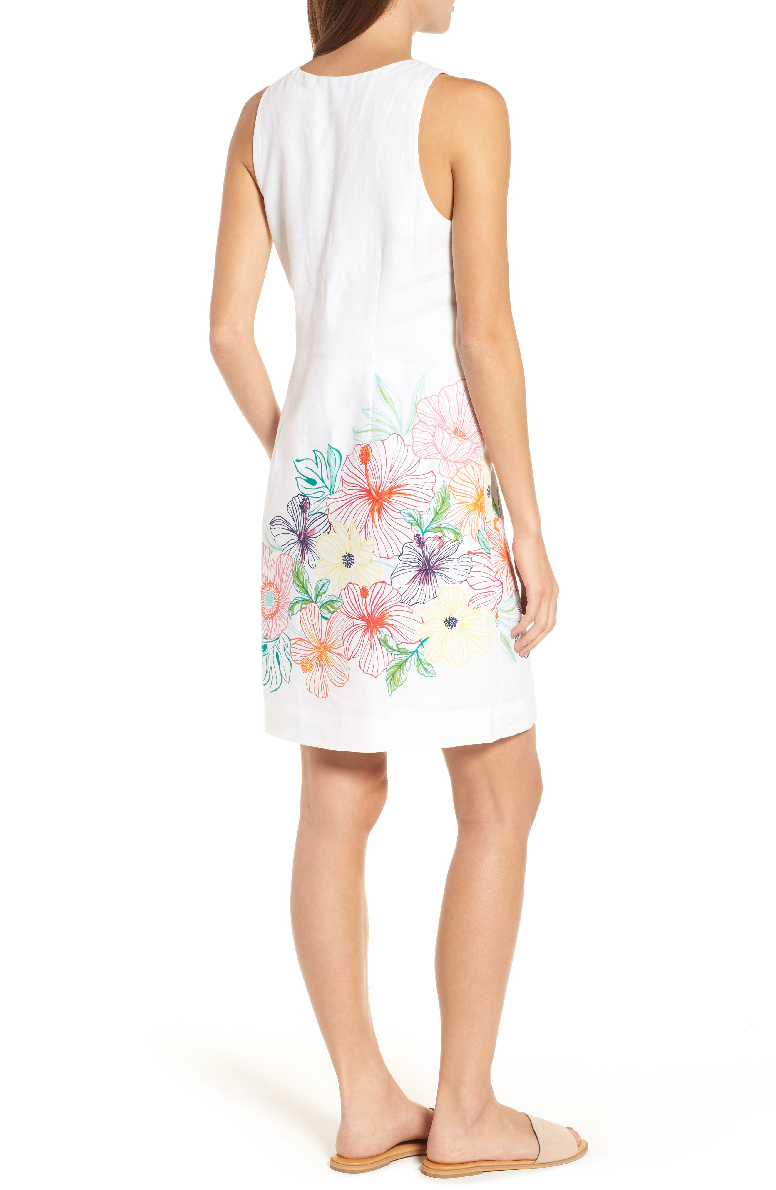Hibiscus Sketch Shift Dress,                             Alternate thumbnail 2, color,                             WHITE