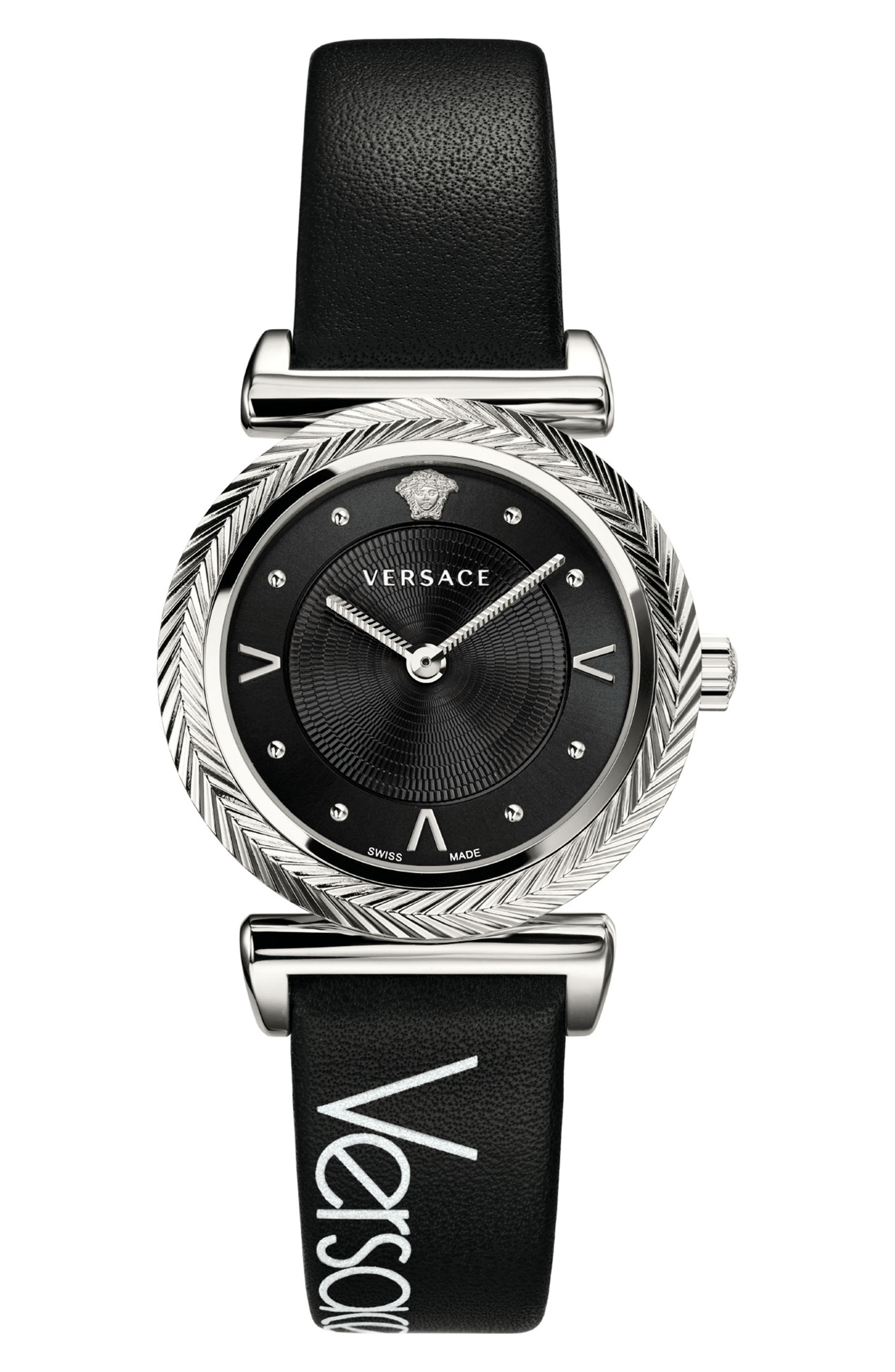 V Motif Leather Strap Watch, 35mm, Main, color, BLACK/ SILVER