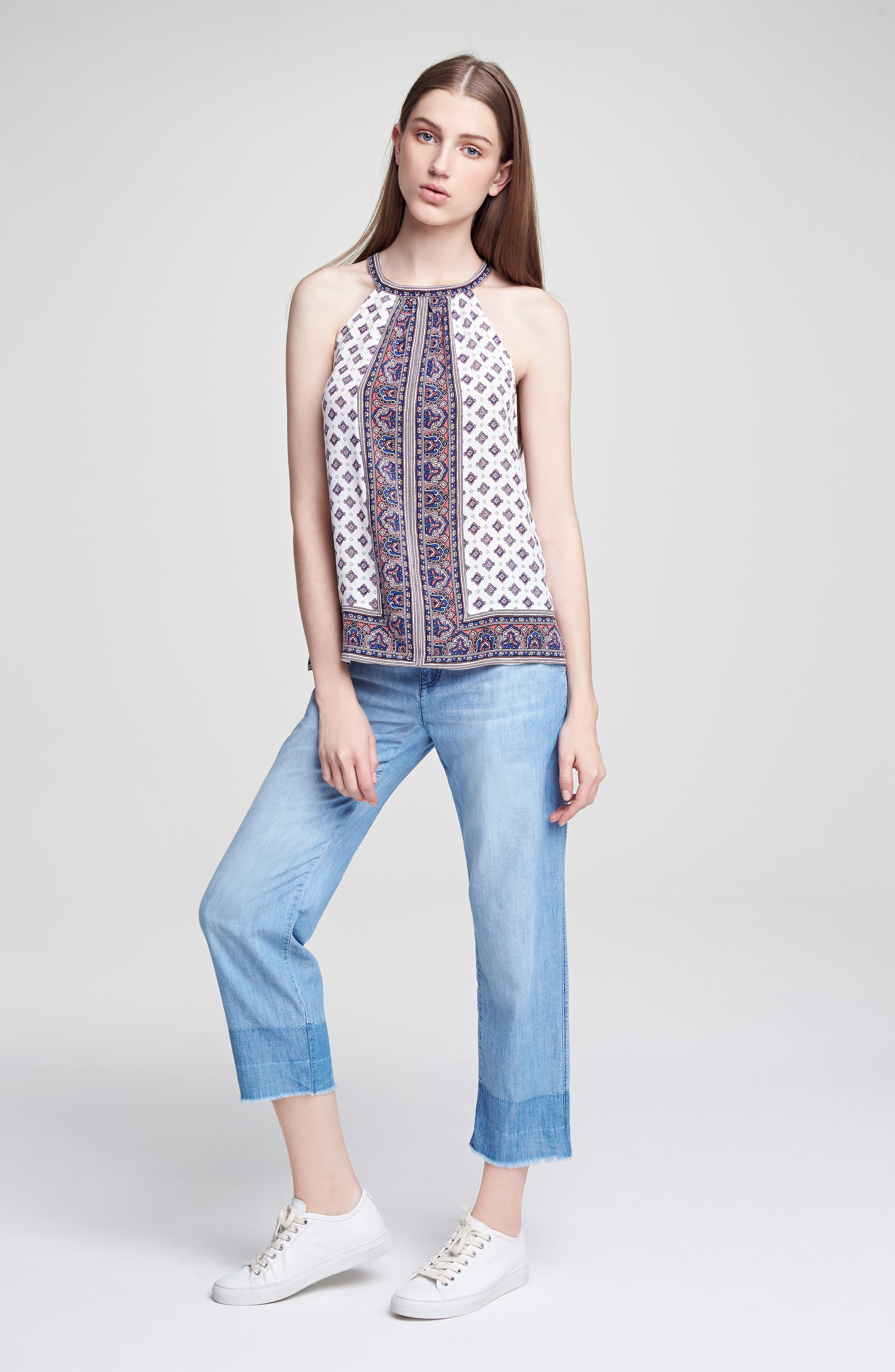 Bradie Border Print Silk Top,                             Alternate thumbnail 6, color,
