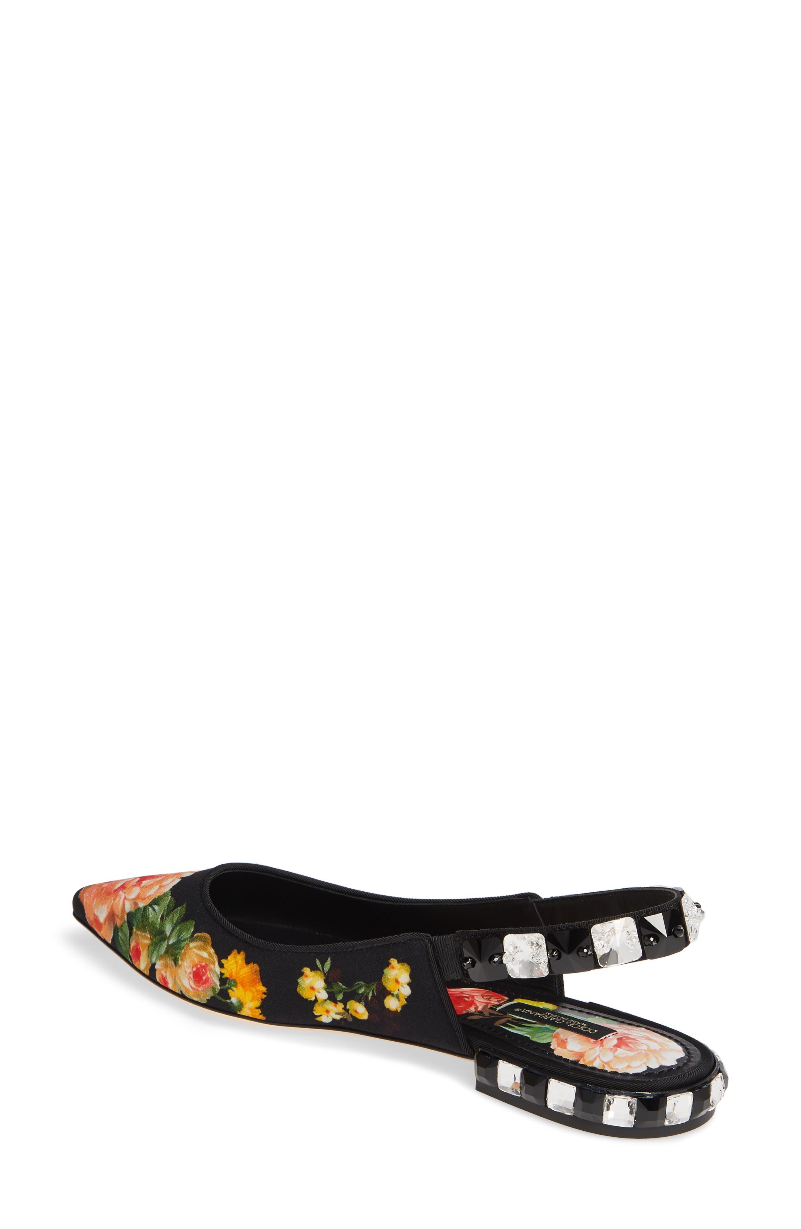 DOLCE&GABBANA,                             Floral Print Slingback Flat,                             Alternate thumbnail 2, color,                             FLORAL PRINT