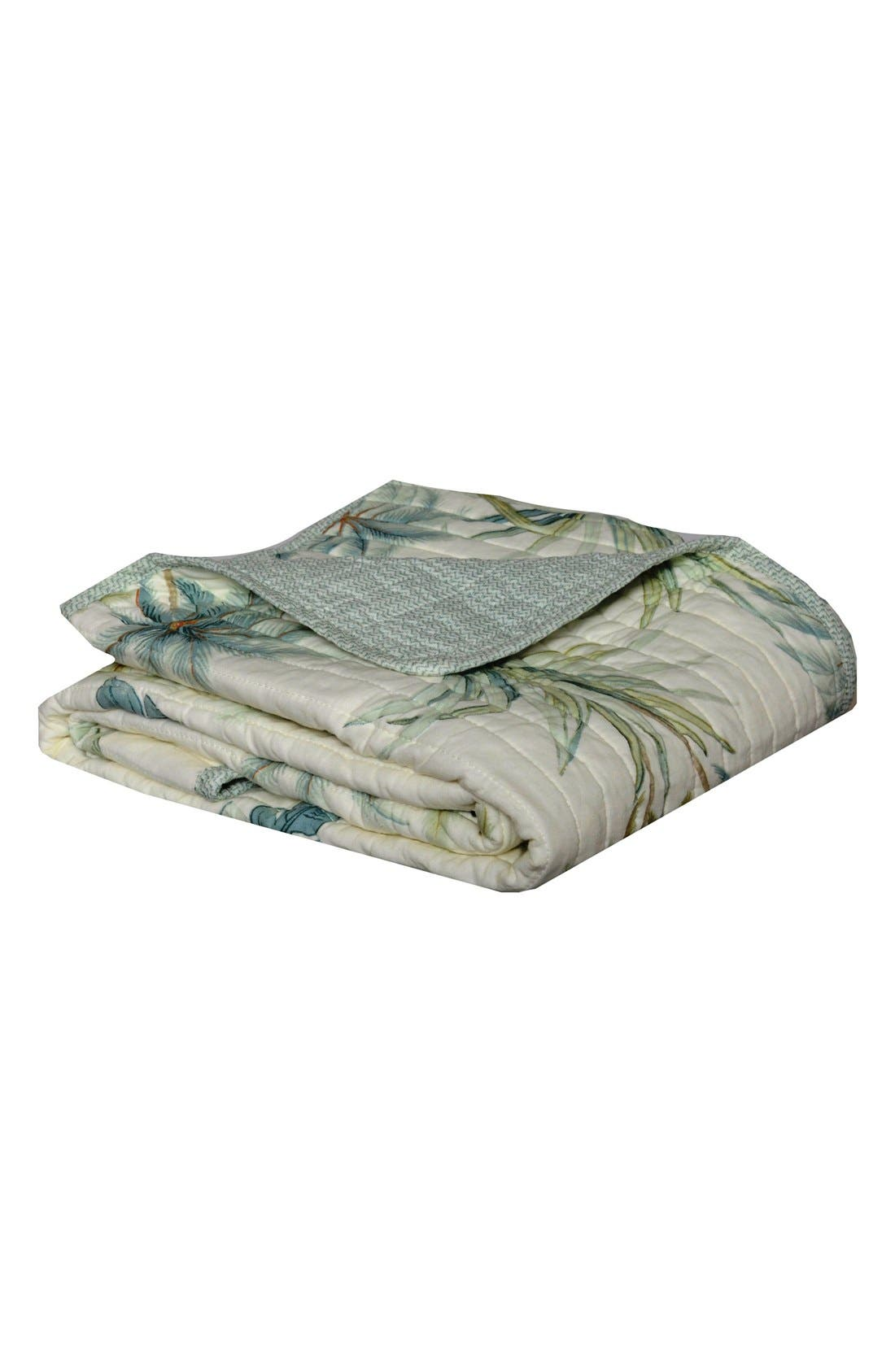 Serenity Palms Quilted Throw,                             Main thumbnail 1, color,                             AQUA