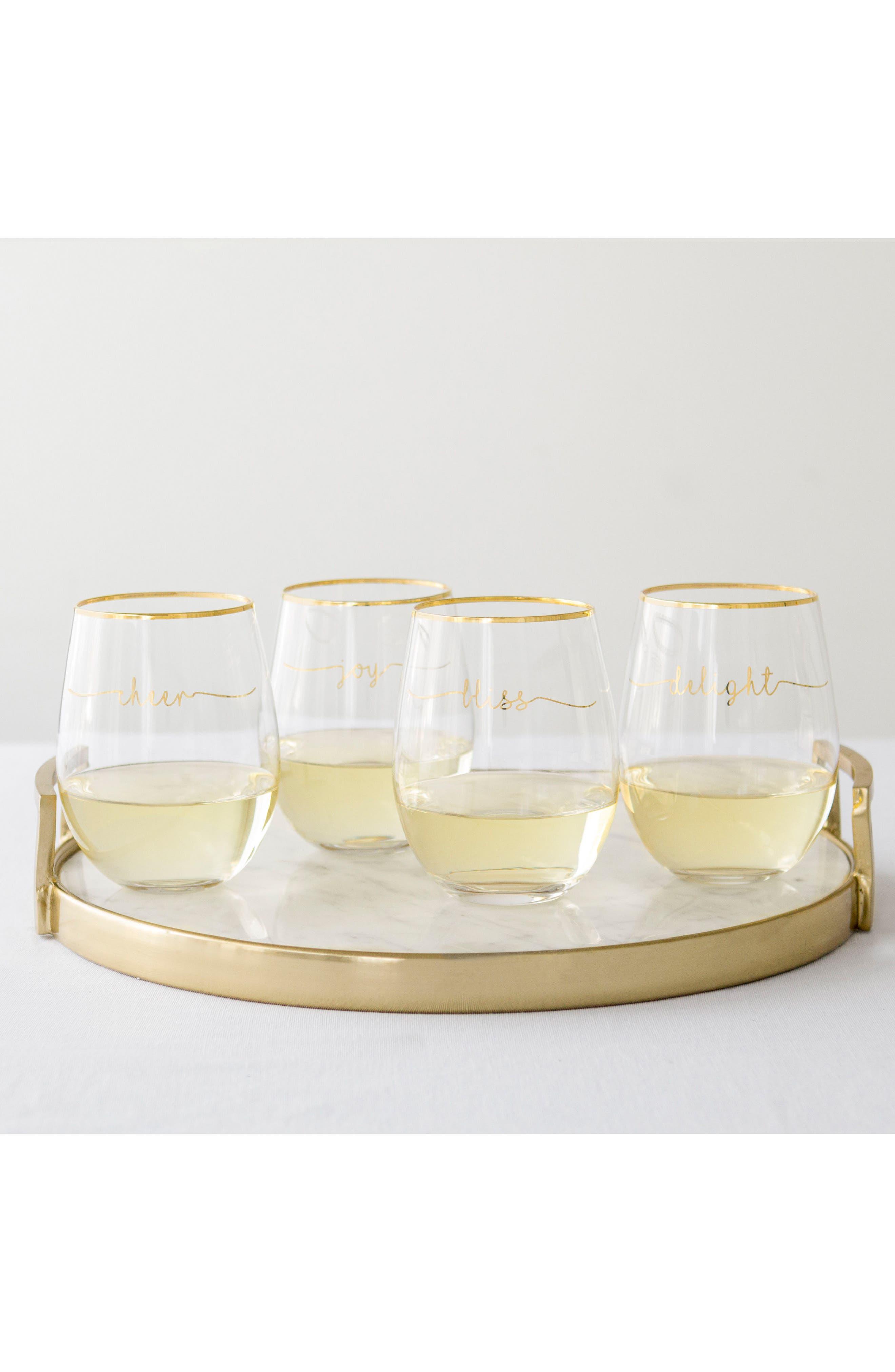 Bliss Set of 4 Stemless Wine Glasses,                             Alternate thumbnail 3, color,                             GOLD