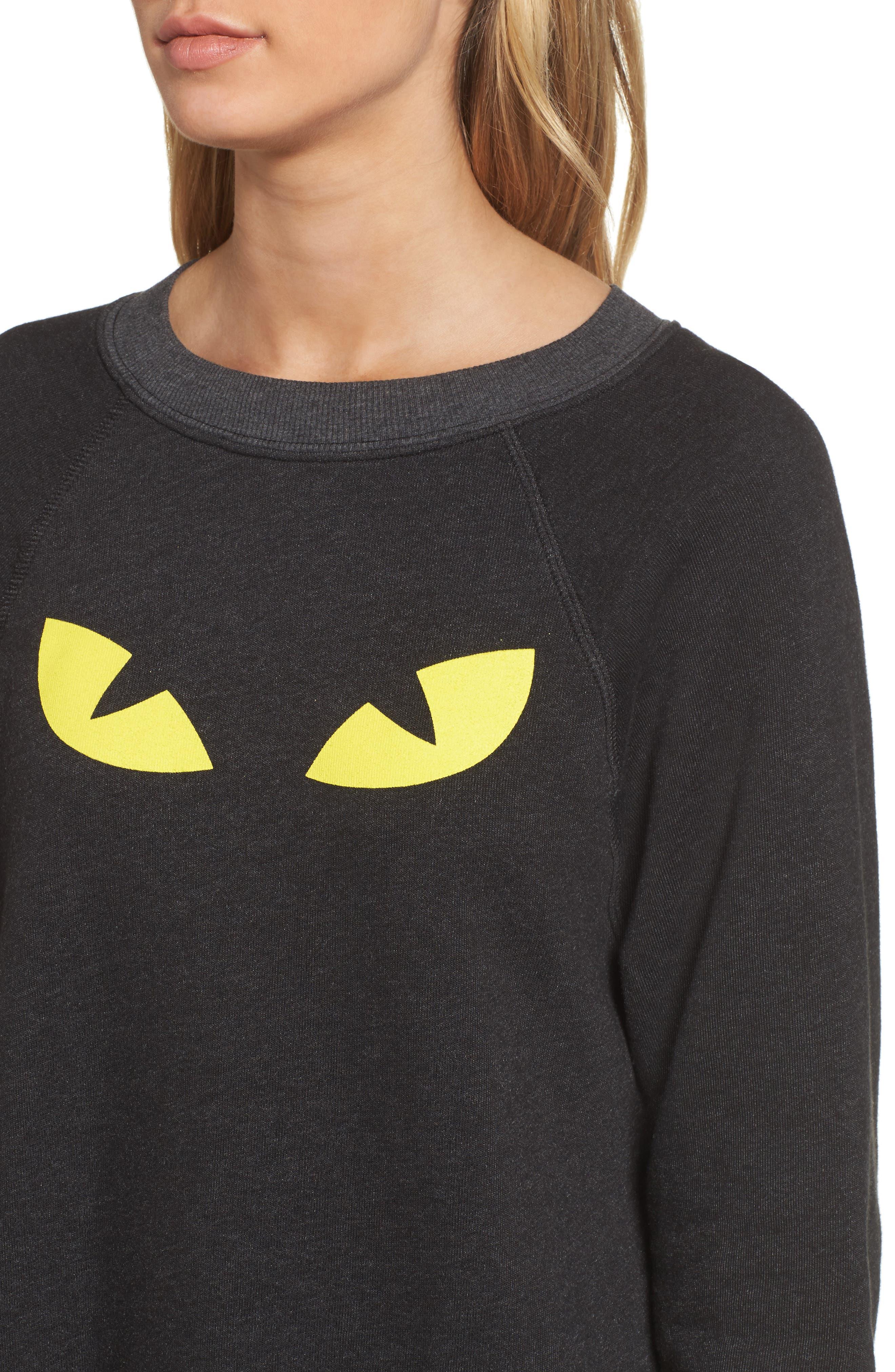 WILDFOX,                             I'm a Cat Sommer Sweatshirt,                             Alternate thumbnail 4, color,                             001