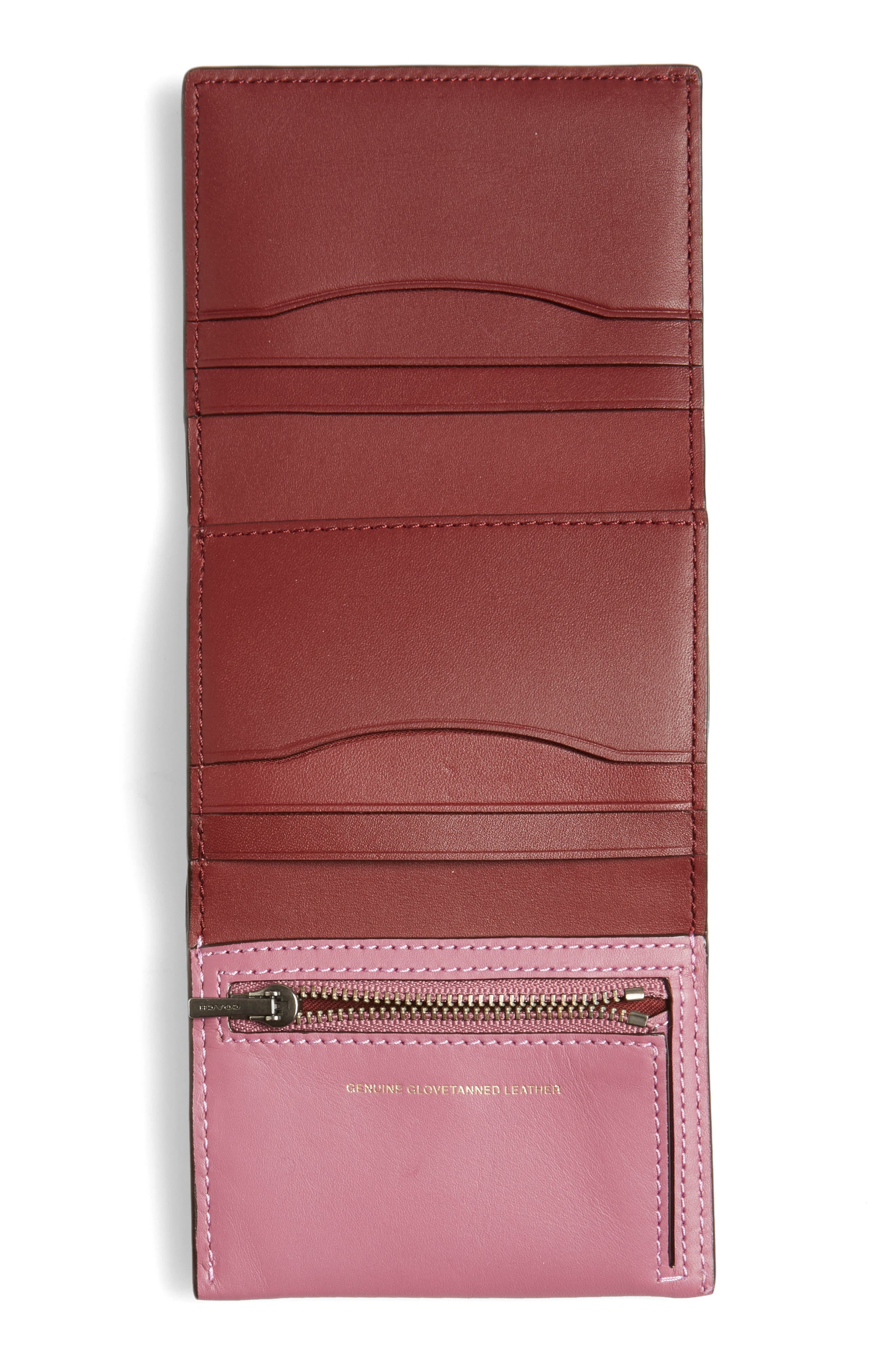 Small Leather Trifold Wallet,                             Alternate thumbnail 4, color,