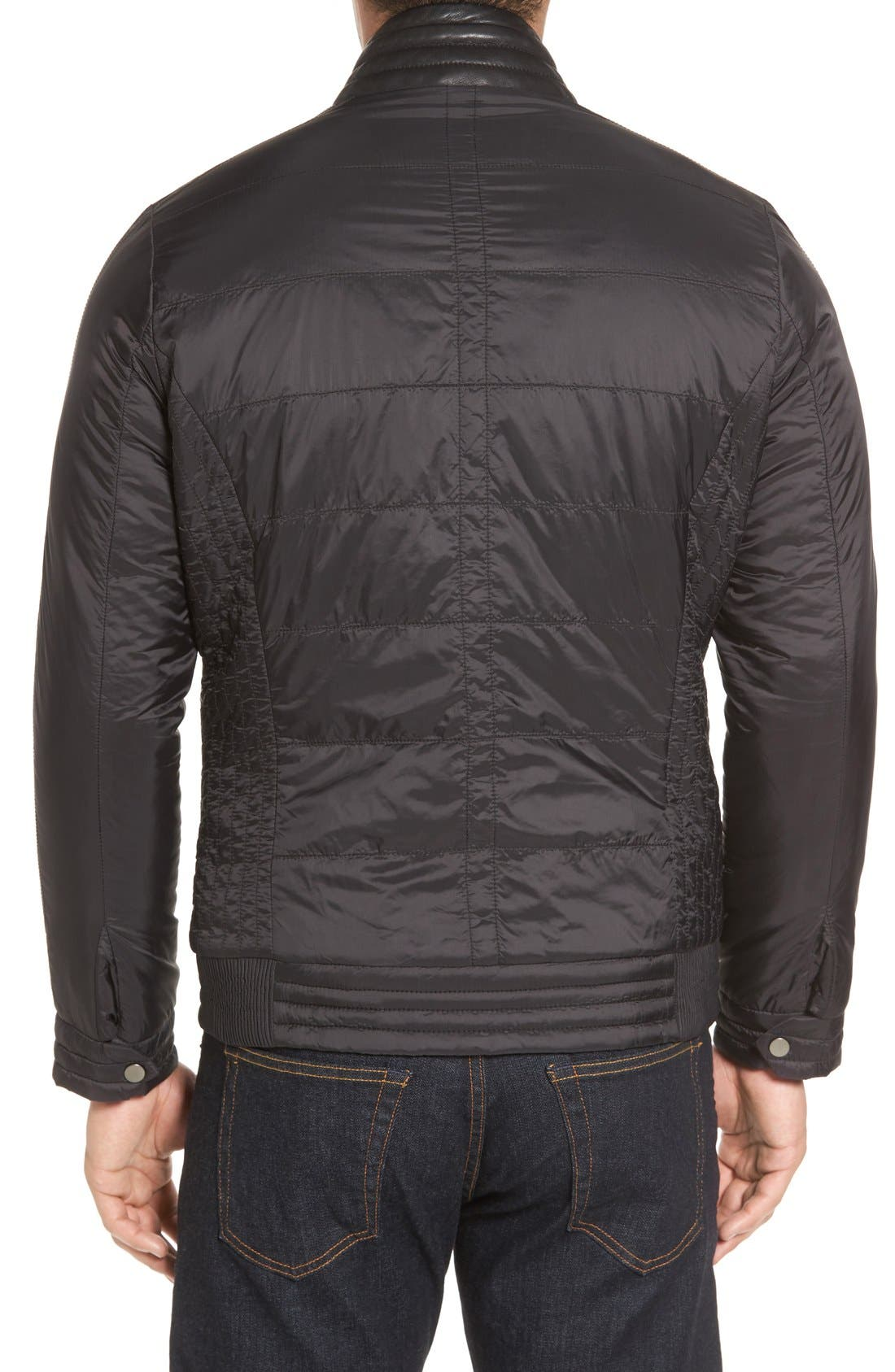 Leather Trimmed Nylon Jacket,                             Alternate thumbnail 2, color,