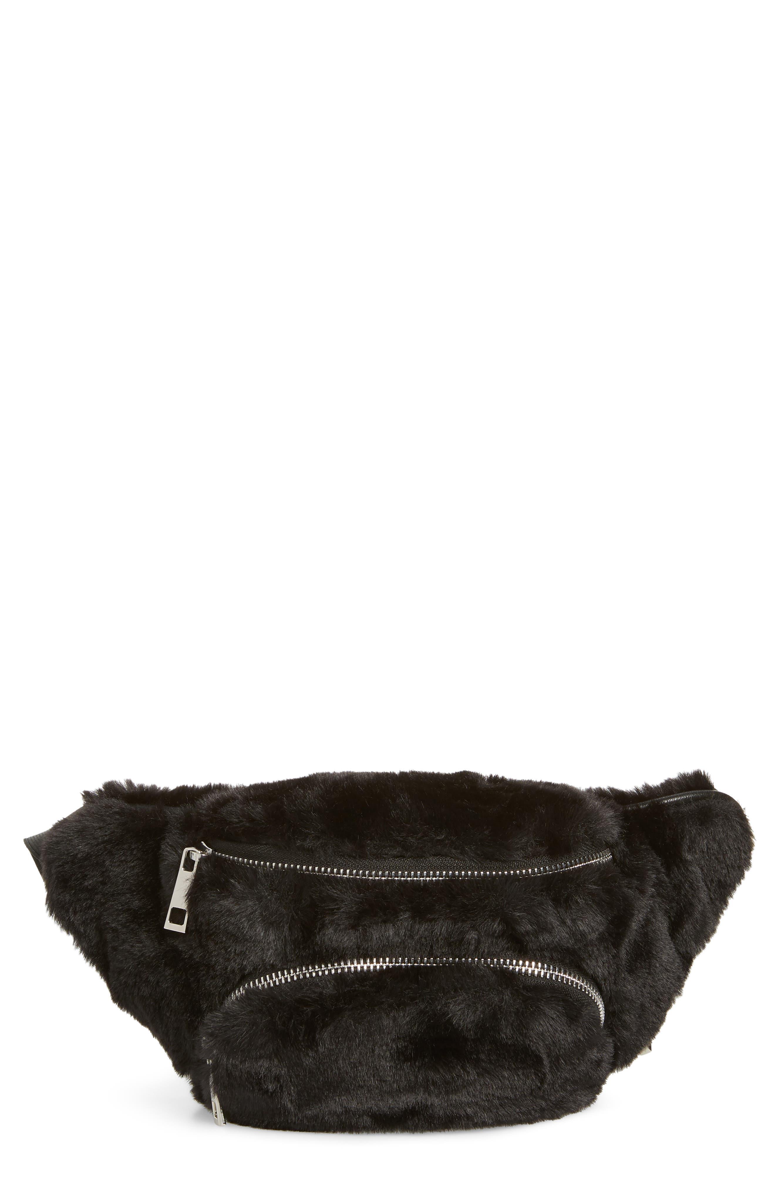 Jaida Faux Fur Belt Bag,                             Main thumbnail 1, color,                             BLACK