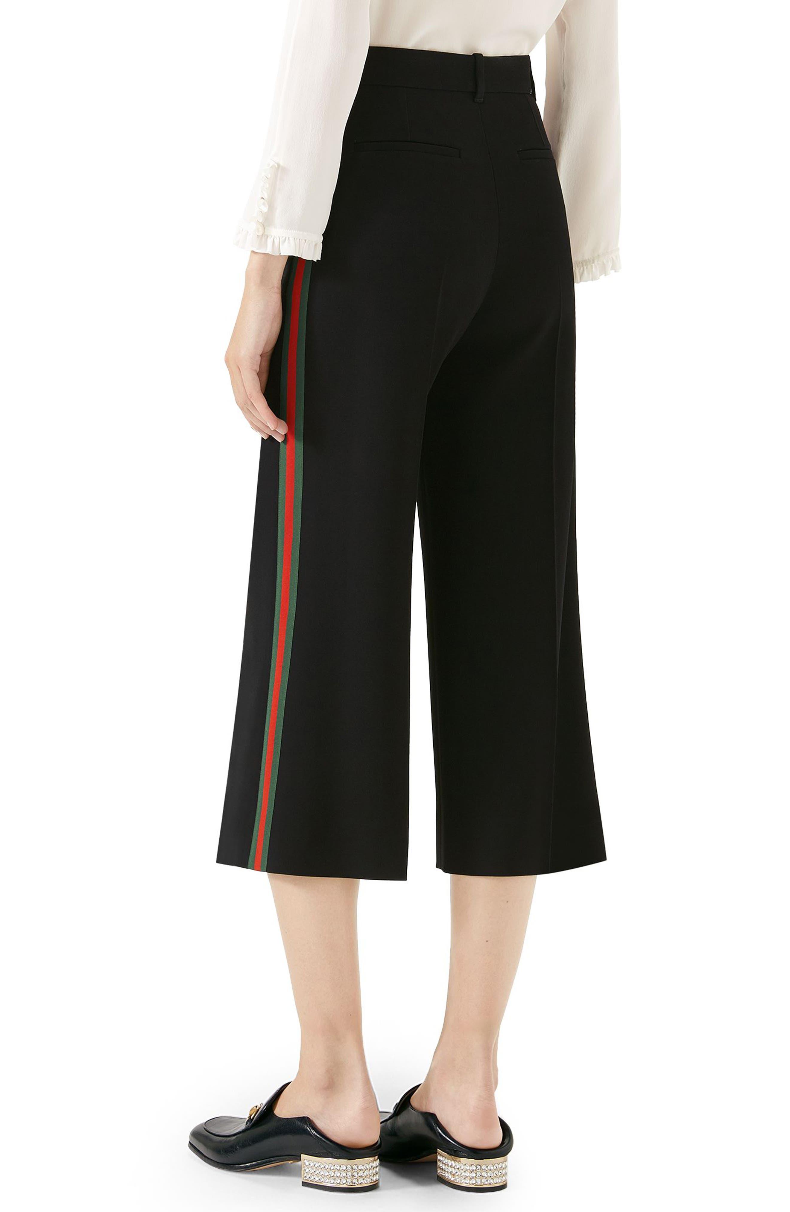 Side Stripe Cady Wide Leg Crop Pants,                             Alternate thumbnail 2, color,                             BLACK