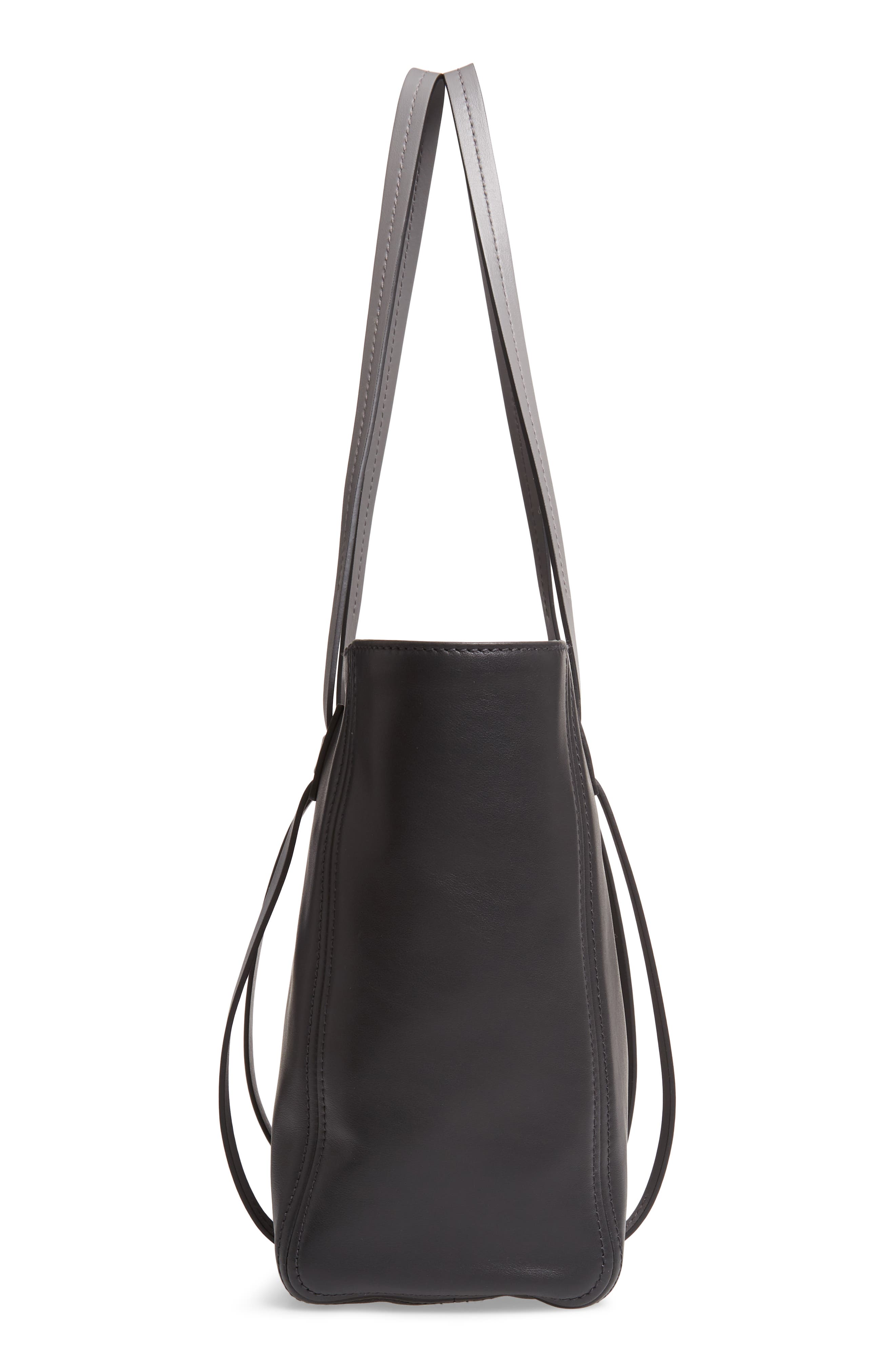 Grace Lux Calfskin Leather Tote,                             Alternate thumbnail 5, color,                             NERO/ MARMO