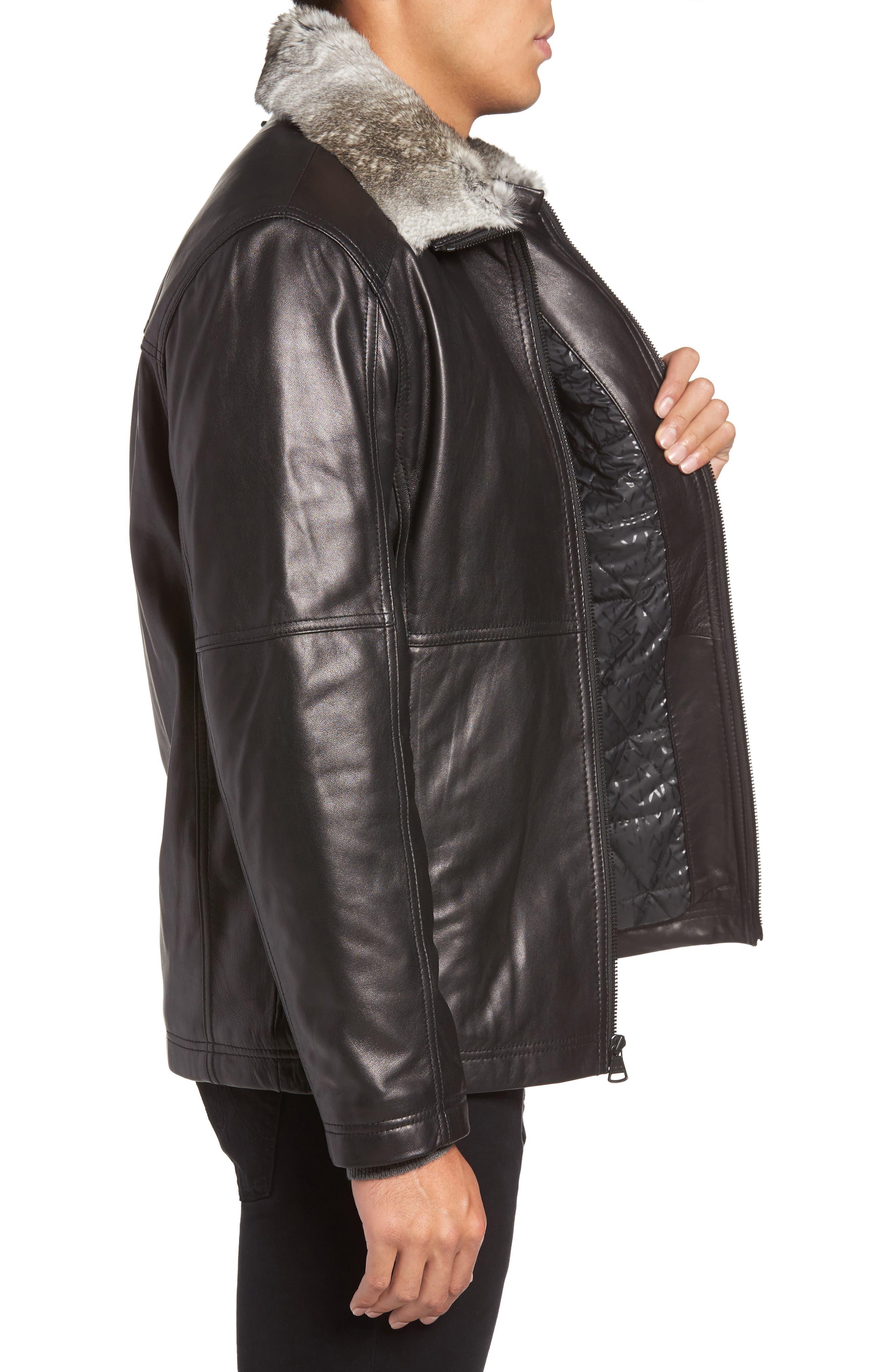 Lambskin Leather Jacket with Genuine Rabbit Fur Trim,                             Alternate thumbnail 5, color,