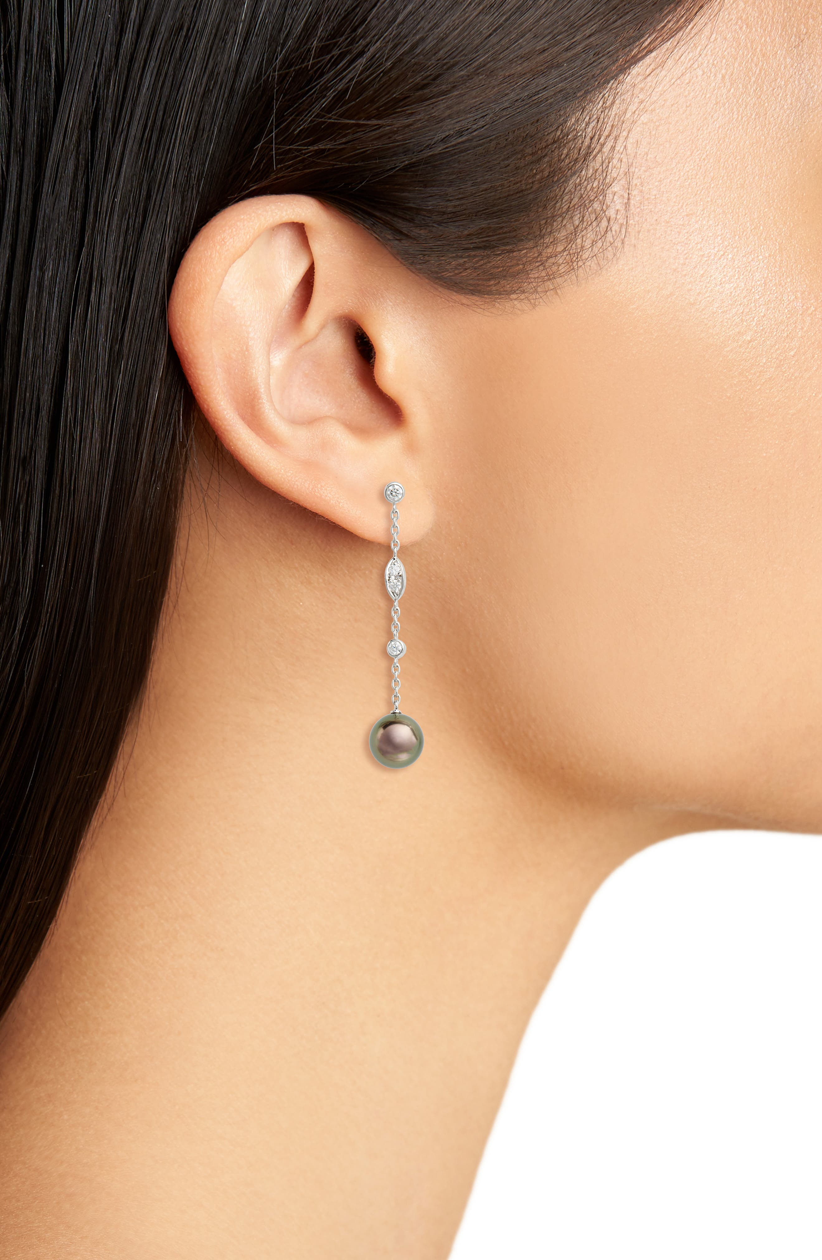 Black South Sea & Diamond Linear Drop Earrings,                             Alternate thumbnail 2, color,                             WHITE GOLD