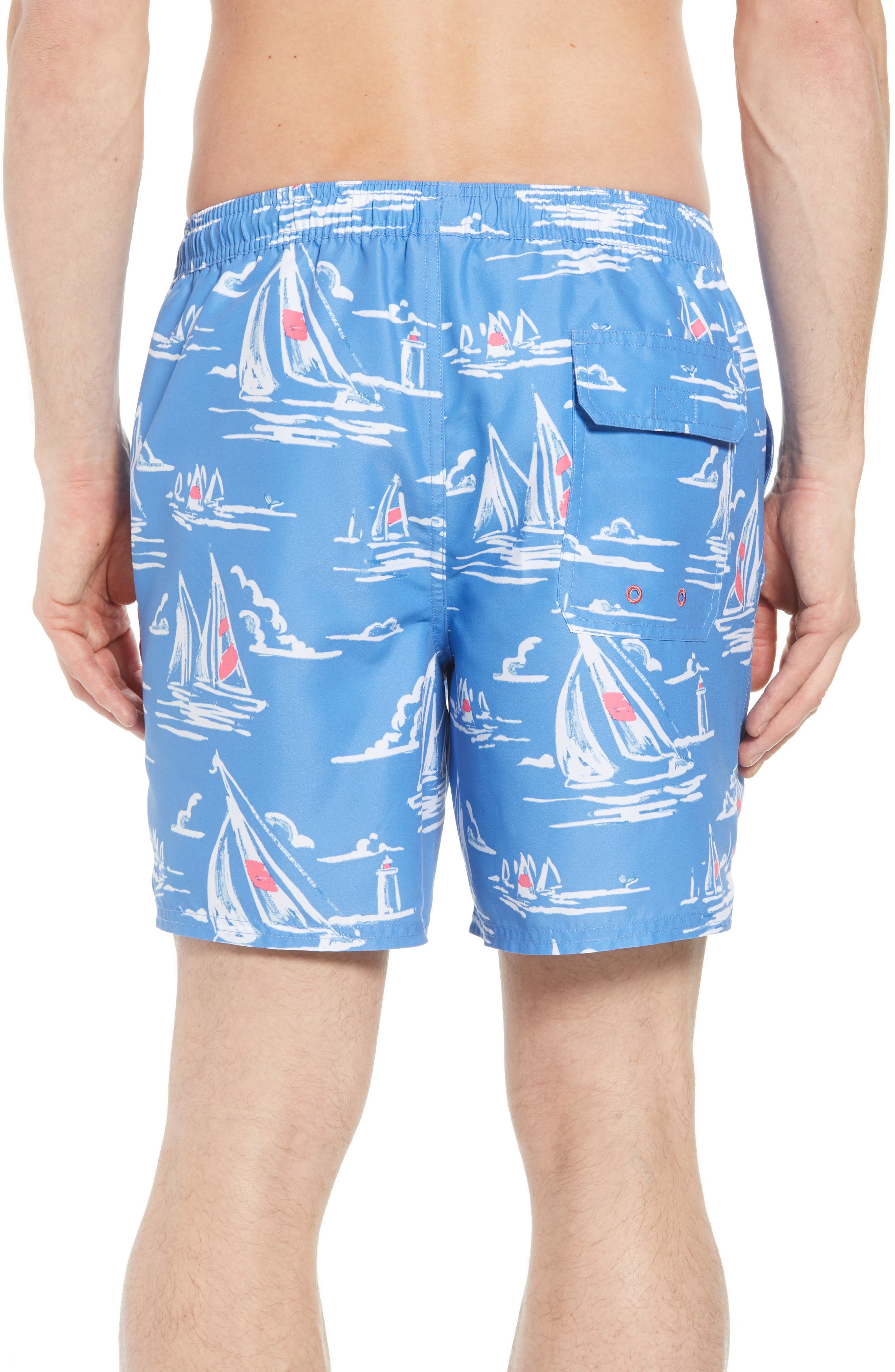 Chappy Sailing Scene Swim Trunks,                             Alternate thumbnail 2, color,                             CORNFLOWER